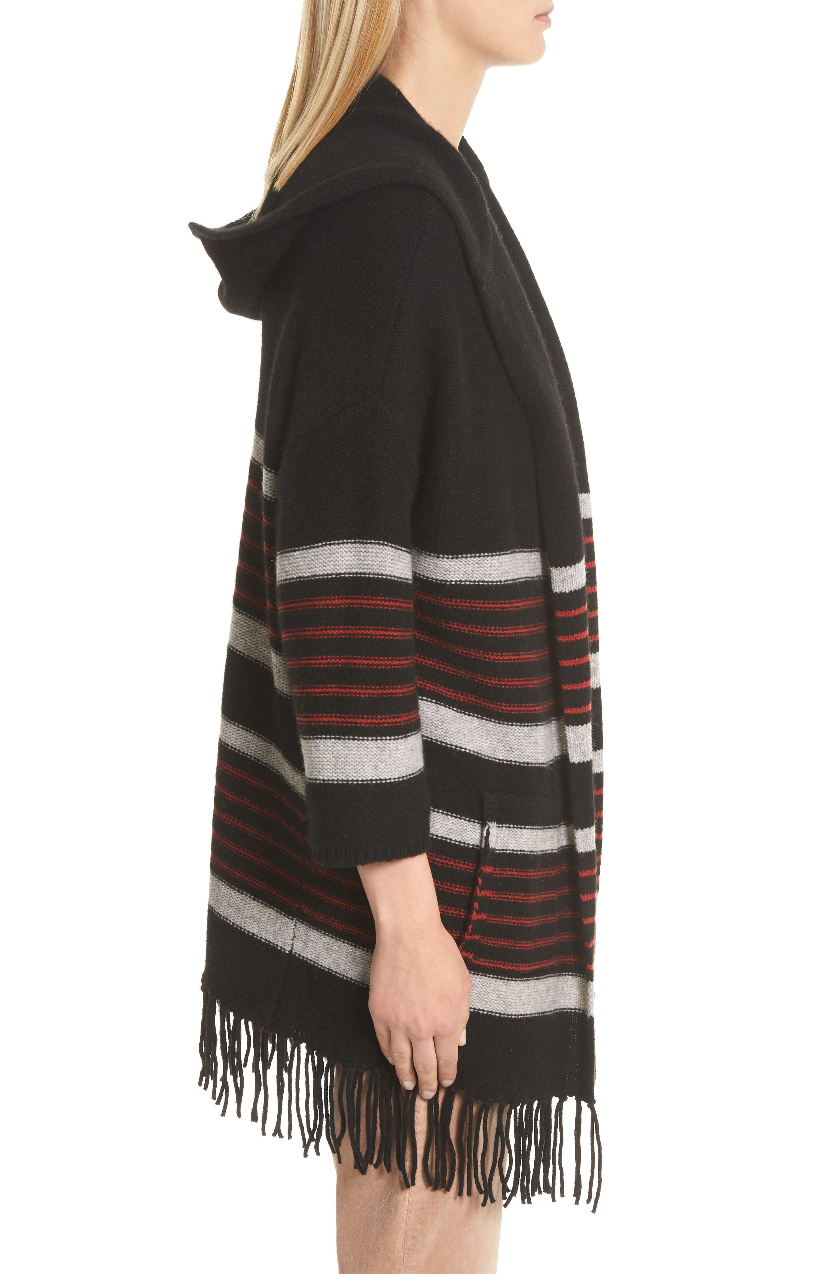 Gabrina Stripe Open Front Hoodie,                             Alternate thumbnail 3, color,                             Caviar / Grey / Tandoori Red