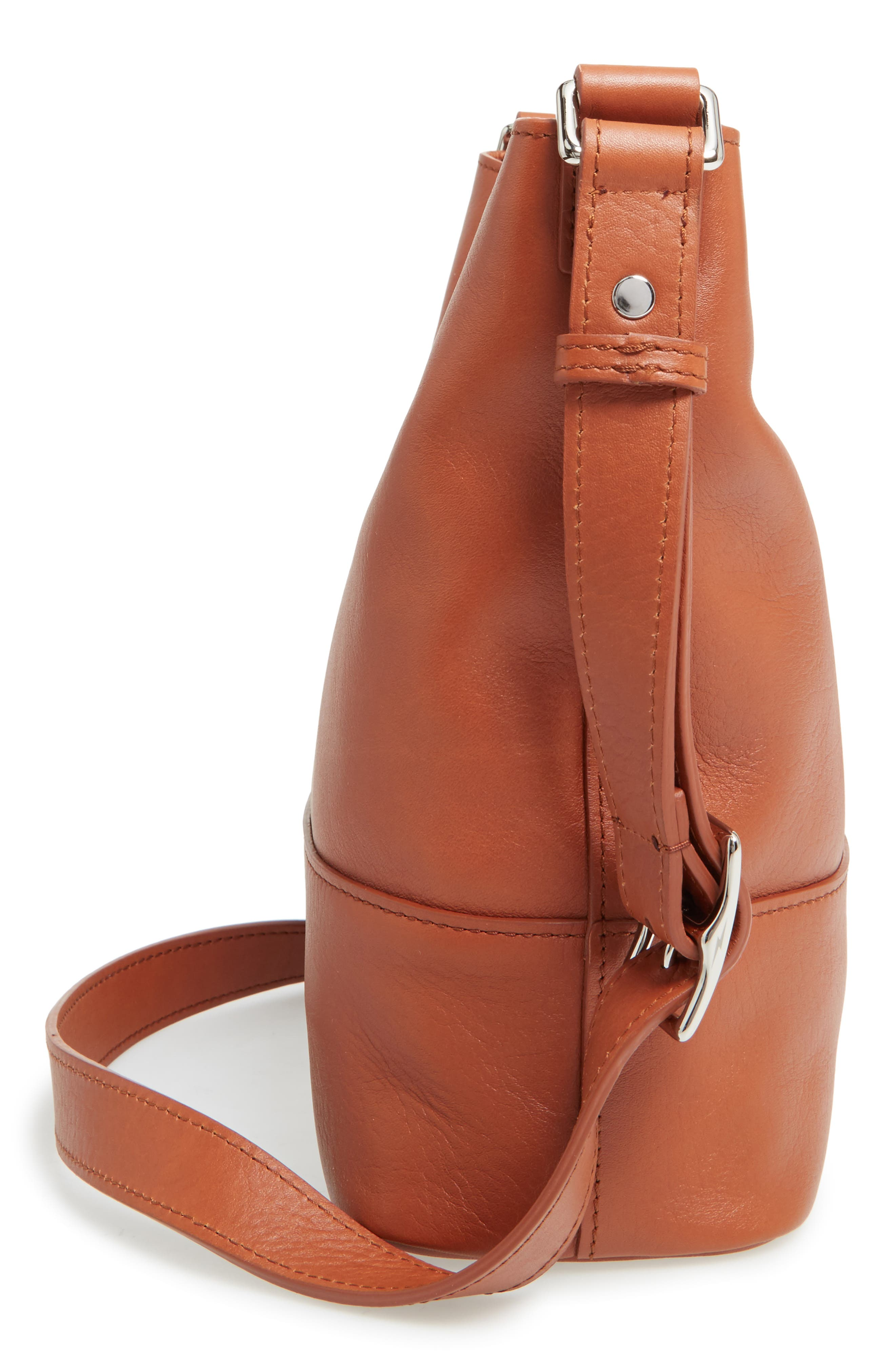Small Relaxed Leather Hobo Bag,                             Alternate thumbnail 5, color,                             Bourbon