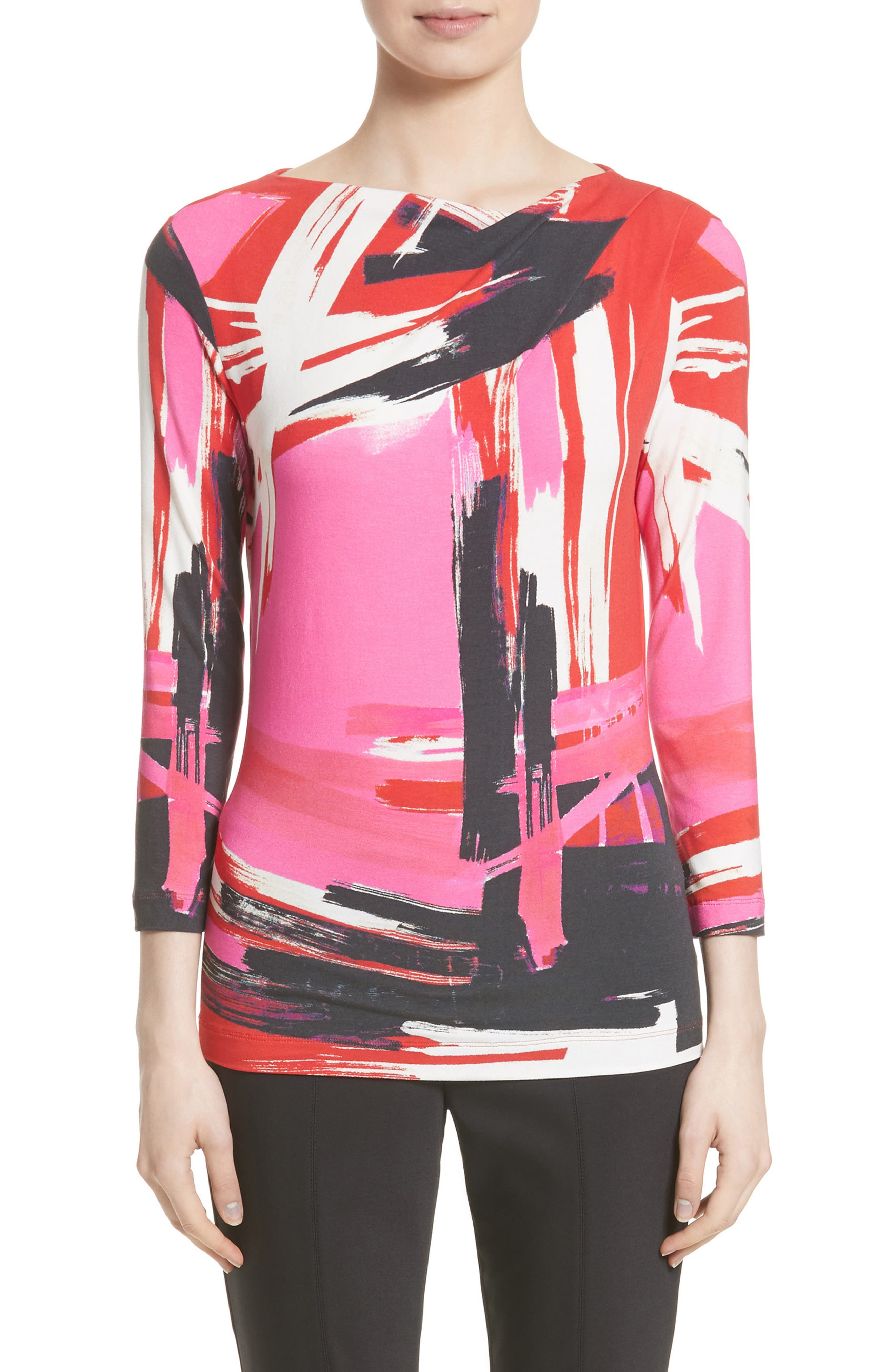 St. John Collection Brushstroke Print Jersey Top (Nordstrom Exclusive)