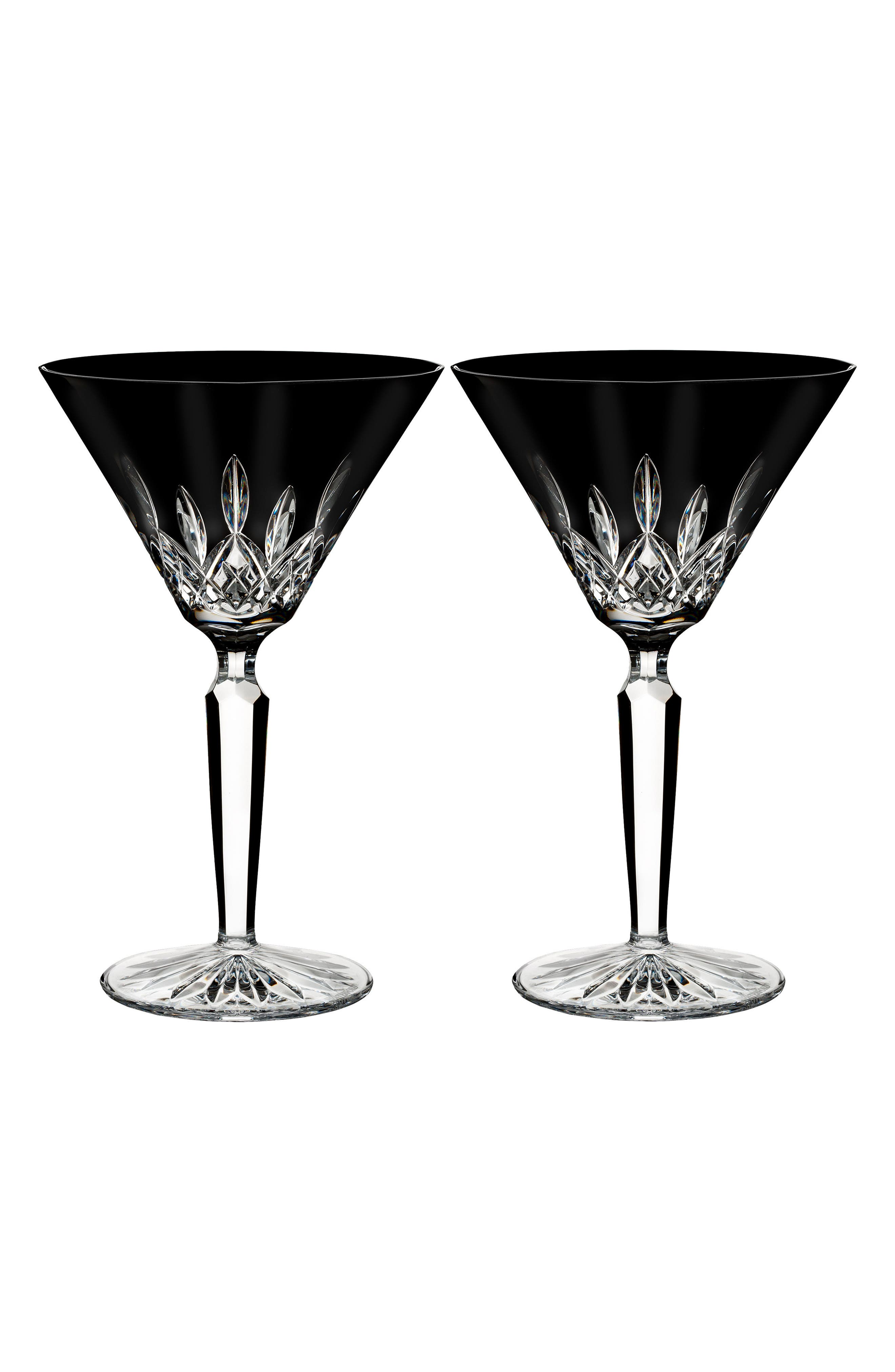 Lismore Diamond Set of 2 Black Lead Crystal Martini Glasses,                         Main,                         color, Crystal