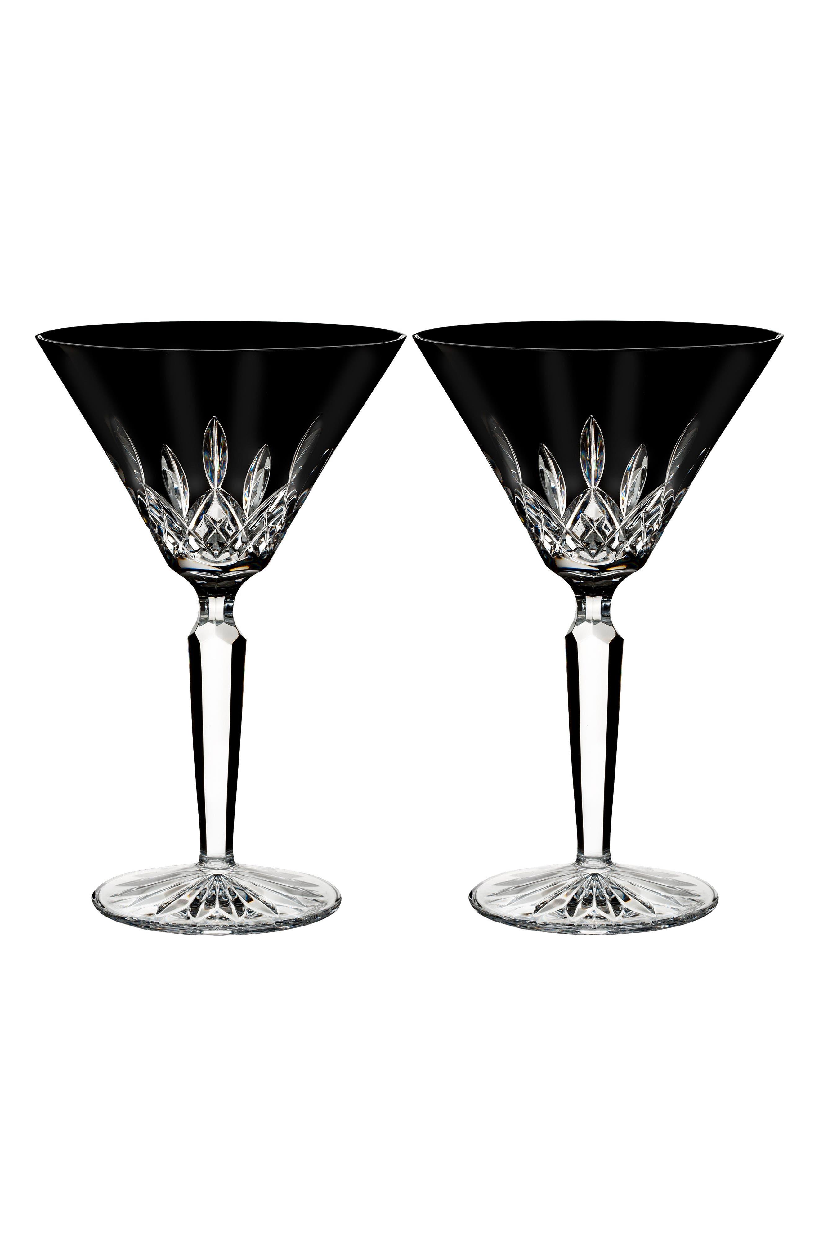 Waterford Lismore Diamond Set of 2 Black Lead Crystal Martini Glasses