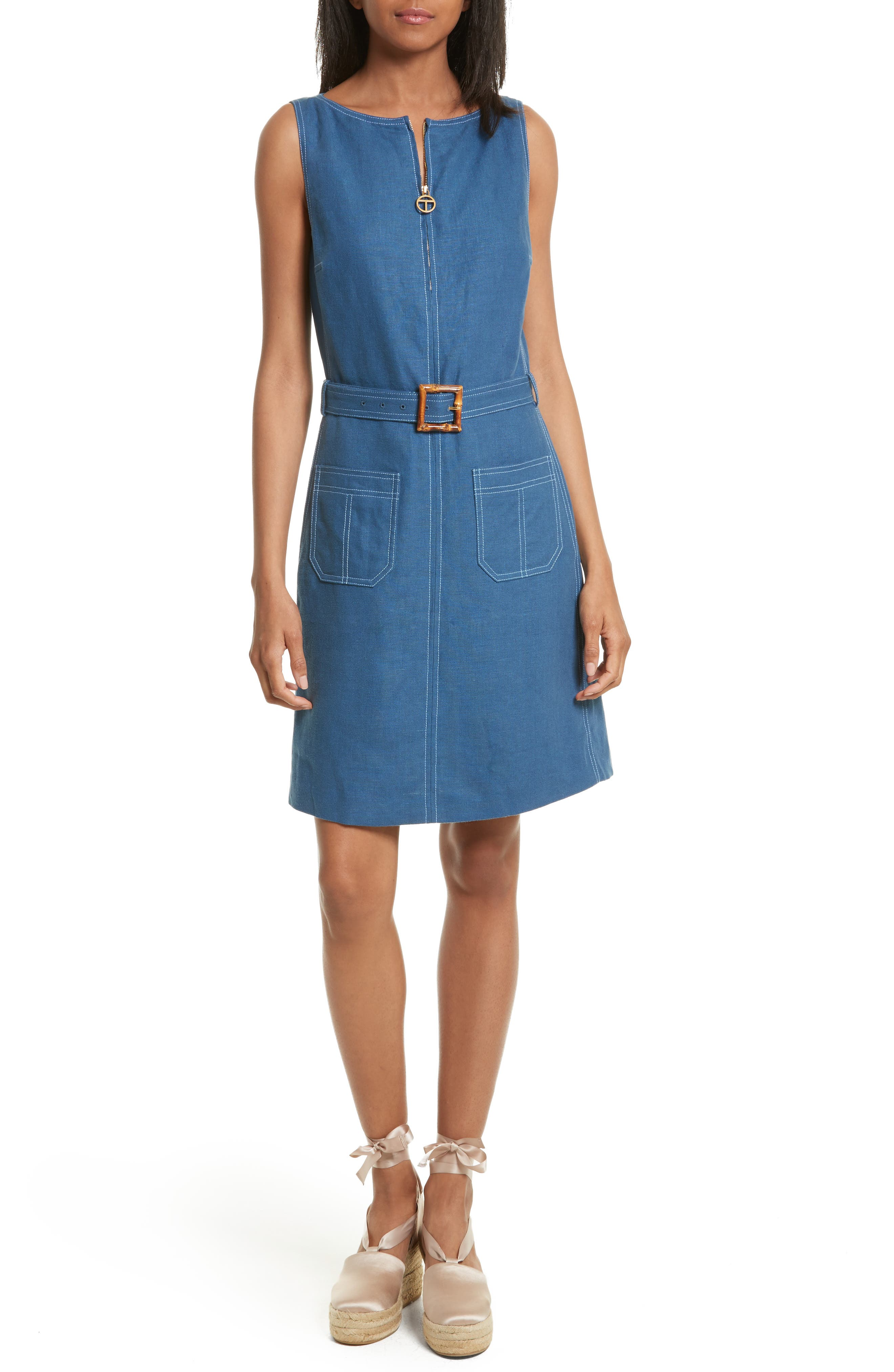 Alternate Image 1 Selected - Tory Burch Nadia Linen A-Line Dress