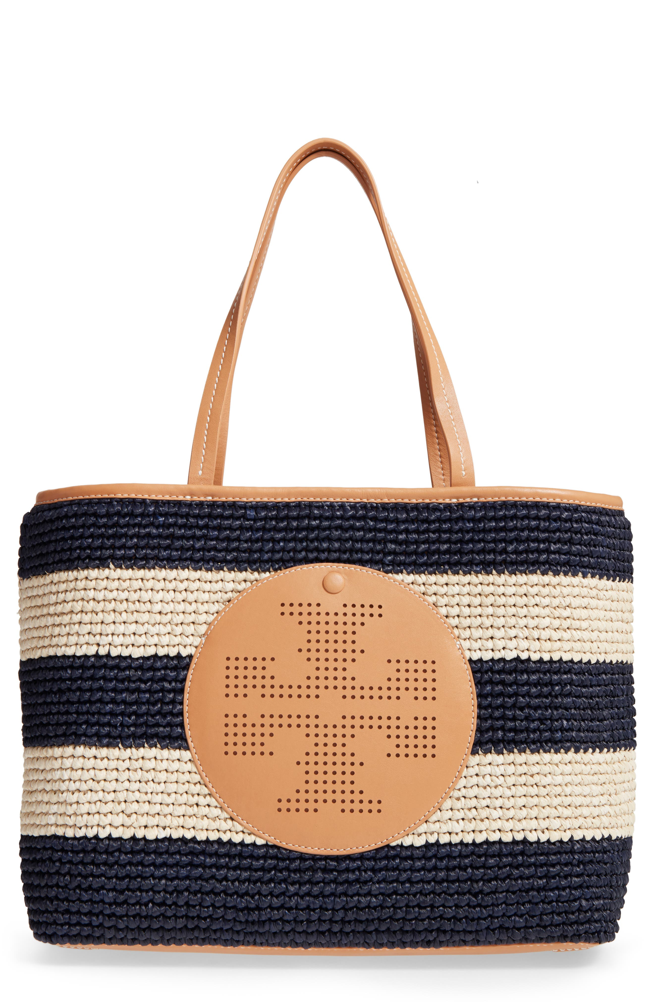 Alternate Image 1 Selected - Tory Burch Logo Straw Tote
