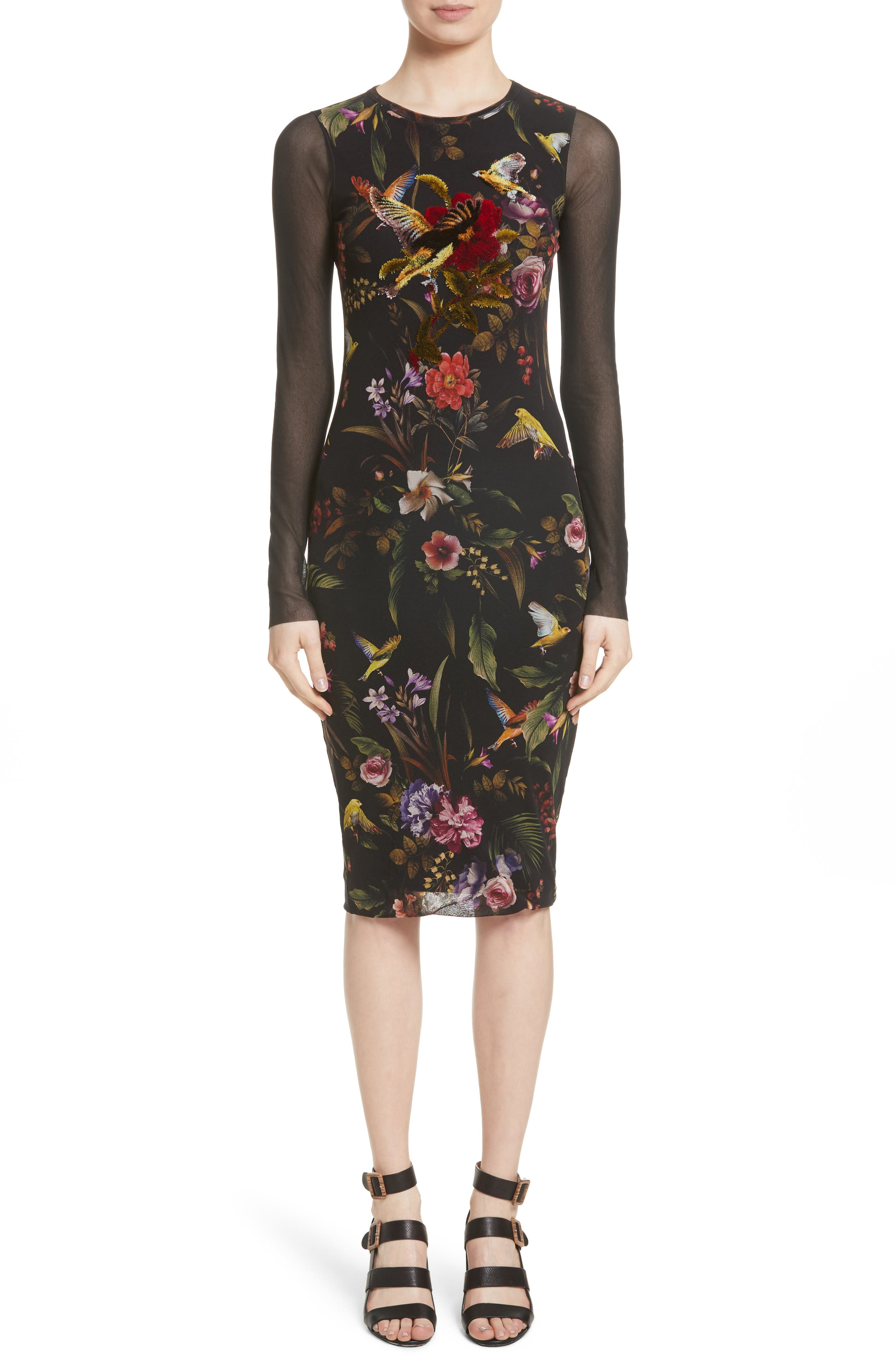 Fuzzi Print Tulle Sheath Dress (Nordstrom Exclusive)