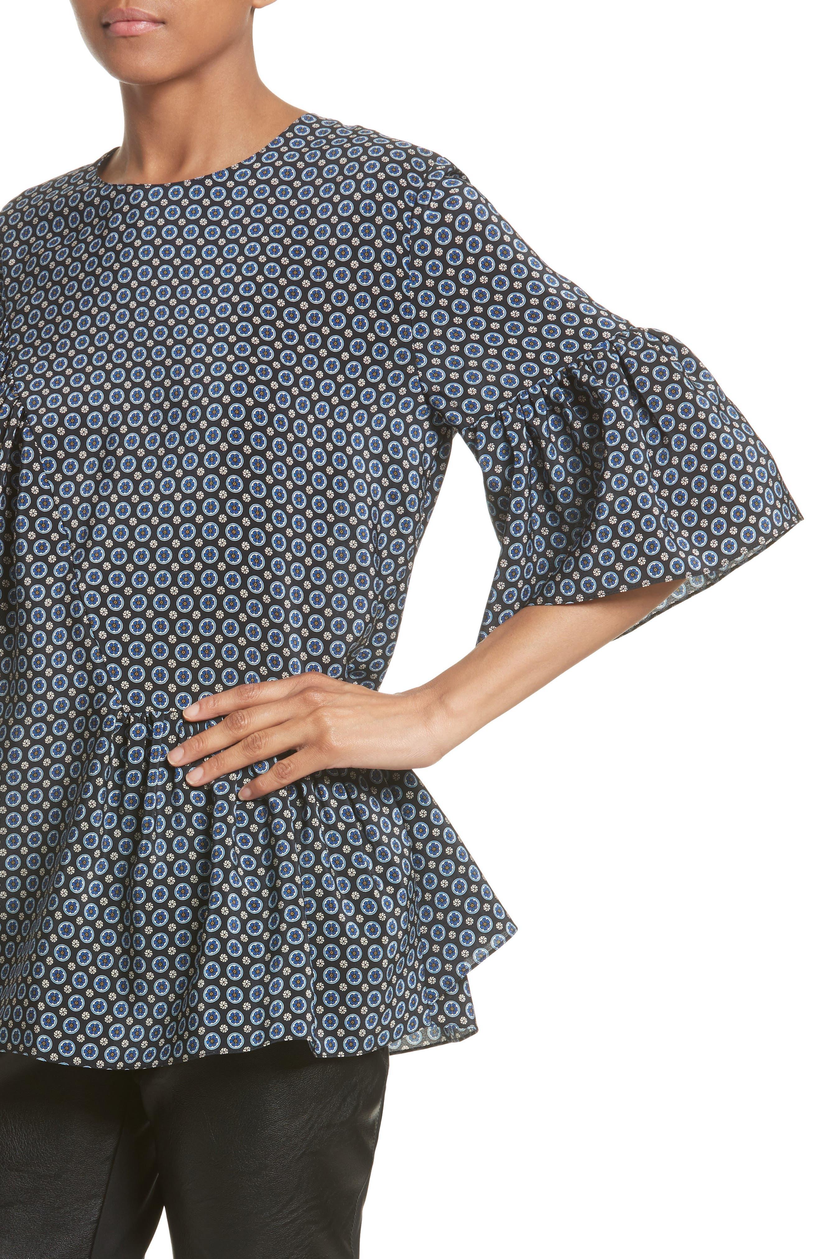 Alternate Image 6  - Stella McCartney Windsor Print Silk Ruffle Blouse