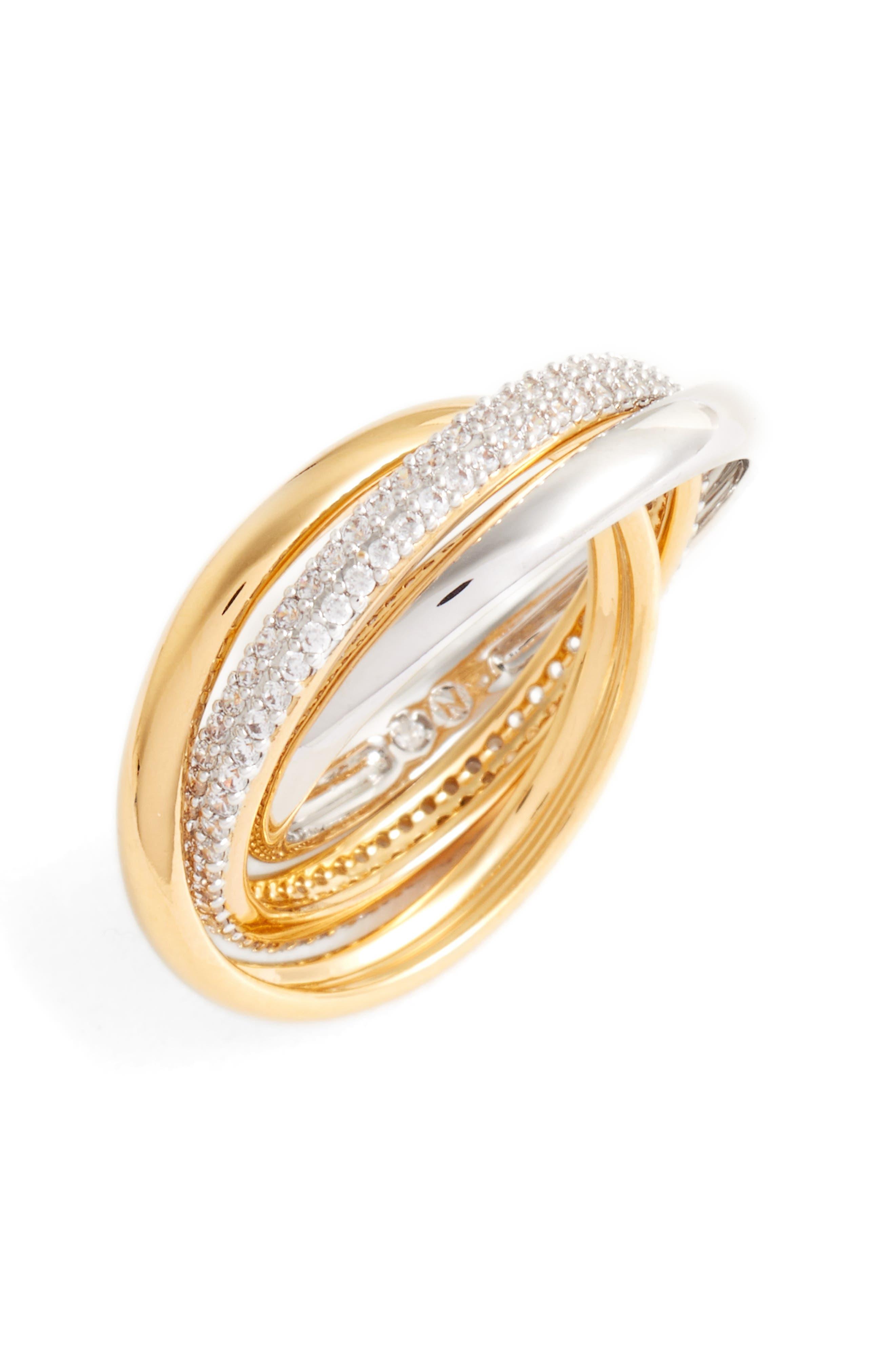 Trinity Pavé Ring,                             Main thumbnail 1, color,                             Gold / Silver