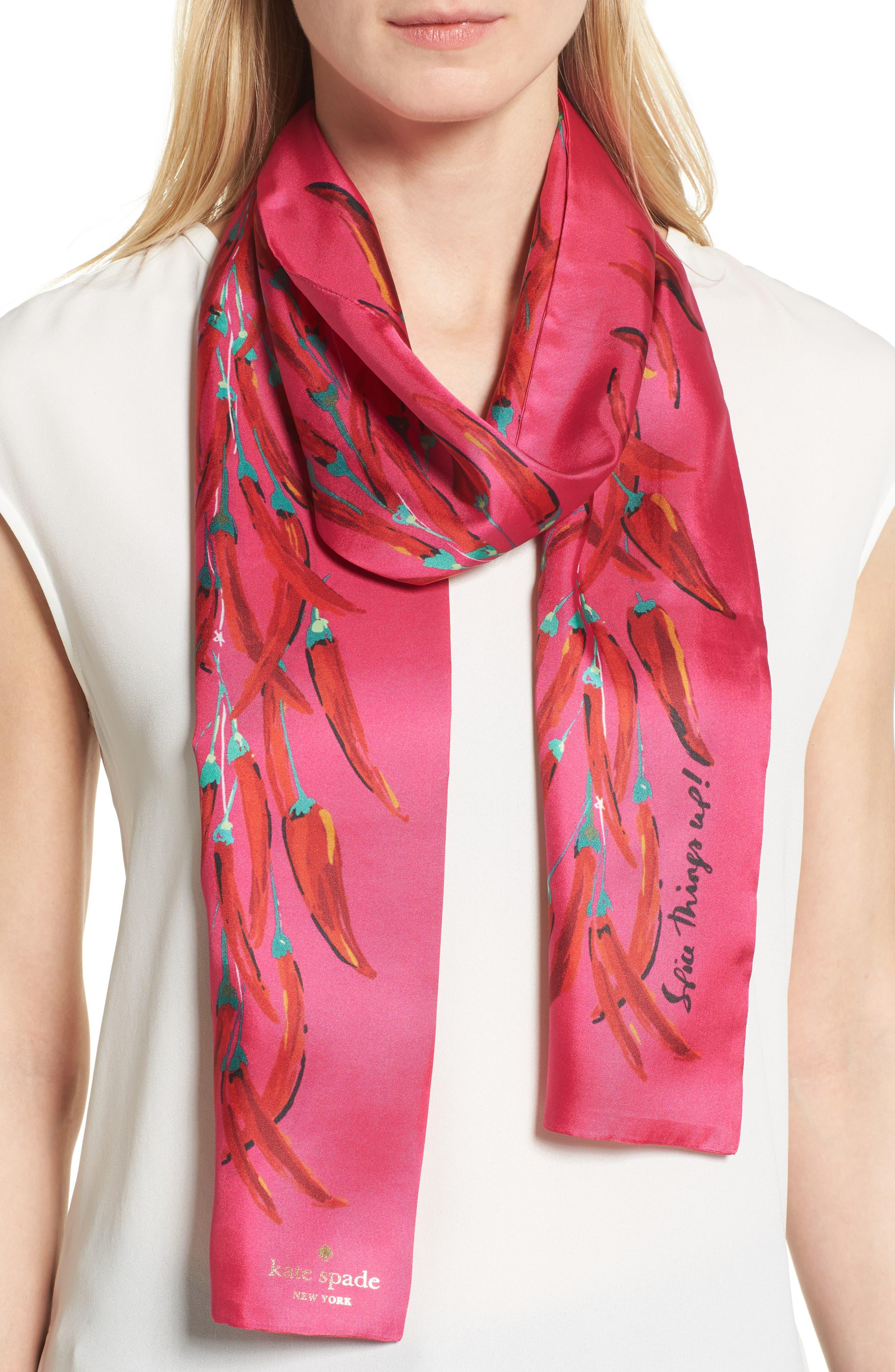chili pepper string skinny scarf,                         Main,                         color, Bougainvillea/ Pink