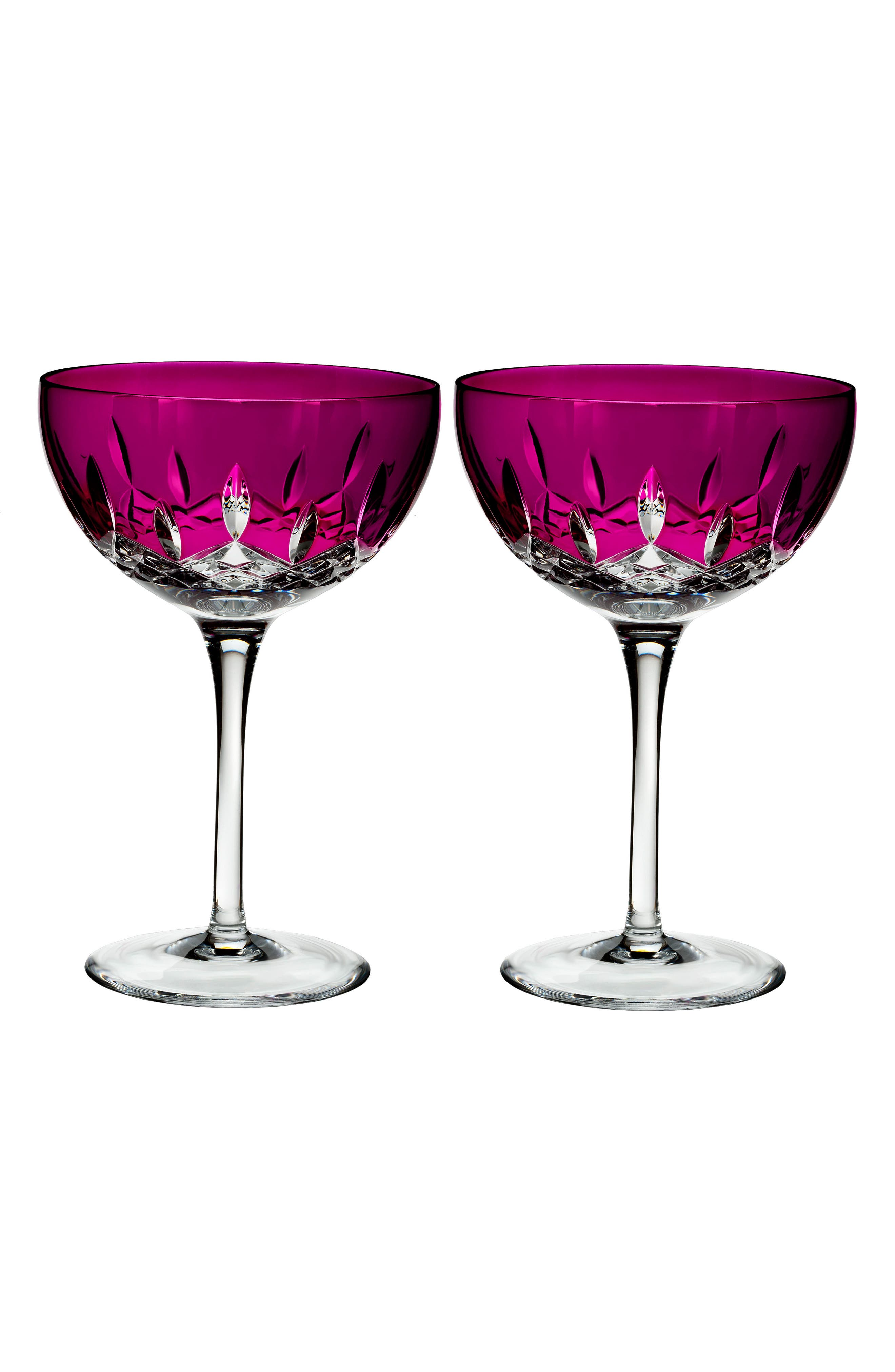 Waterford Lismore Pops Set of 2 Pink Lead Crystal Cocktail Glasses