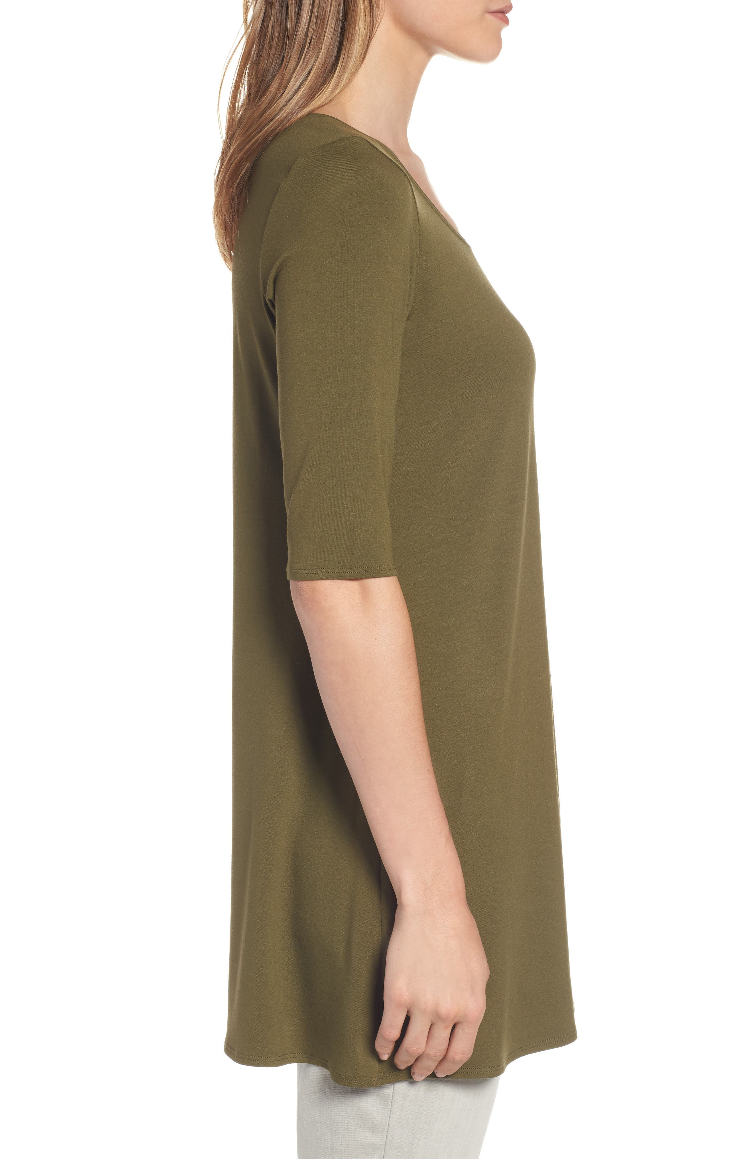 Alternate Image 3  - Eileen Fisher Scoop Neck Elbow Sleeve Jersey Tunic (Regular & Petite) (Online Only)