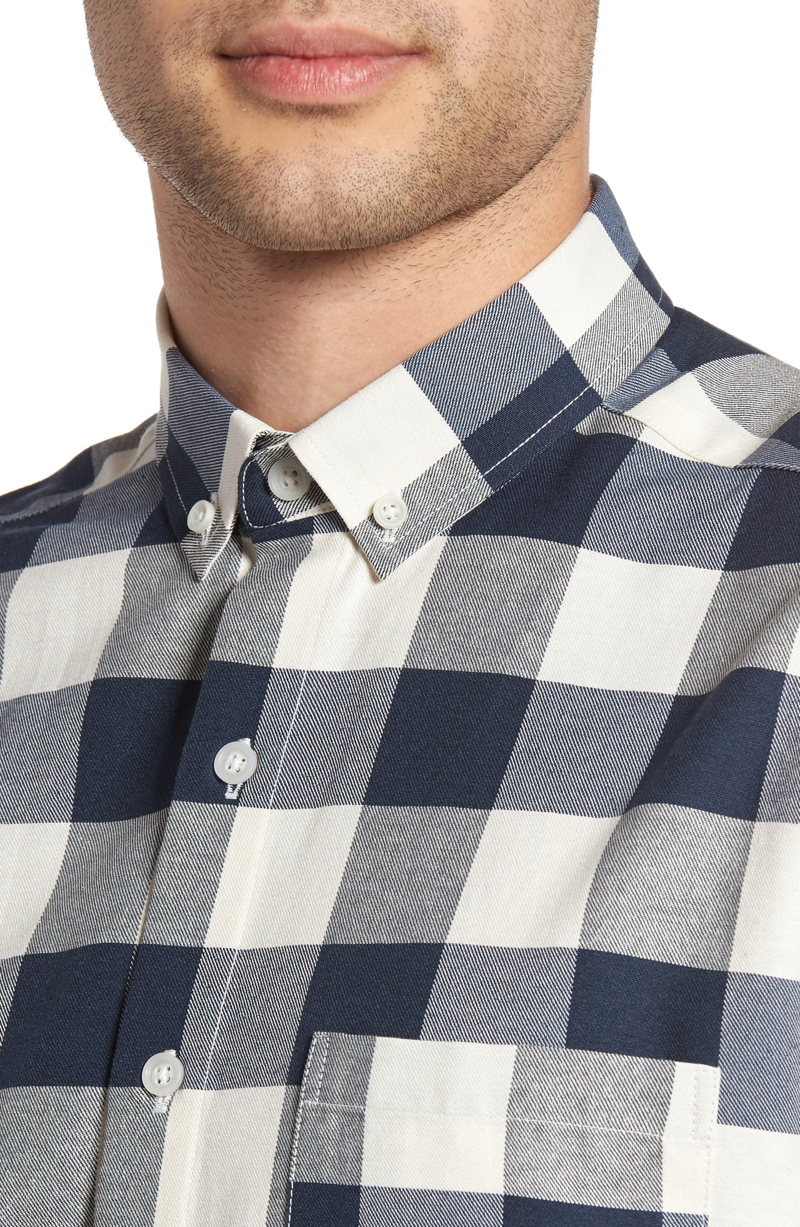 Check Twill Shirt,                             Alternate thumbnail 4, color,                             Stone Multi