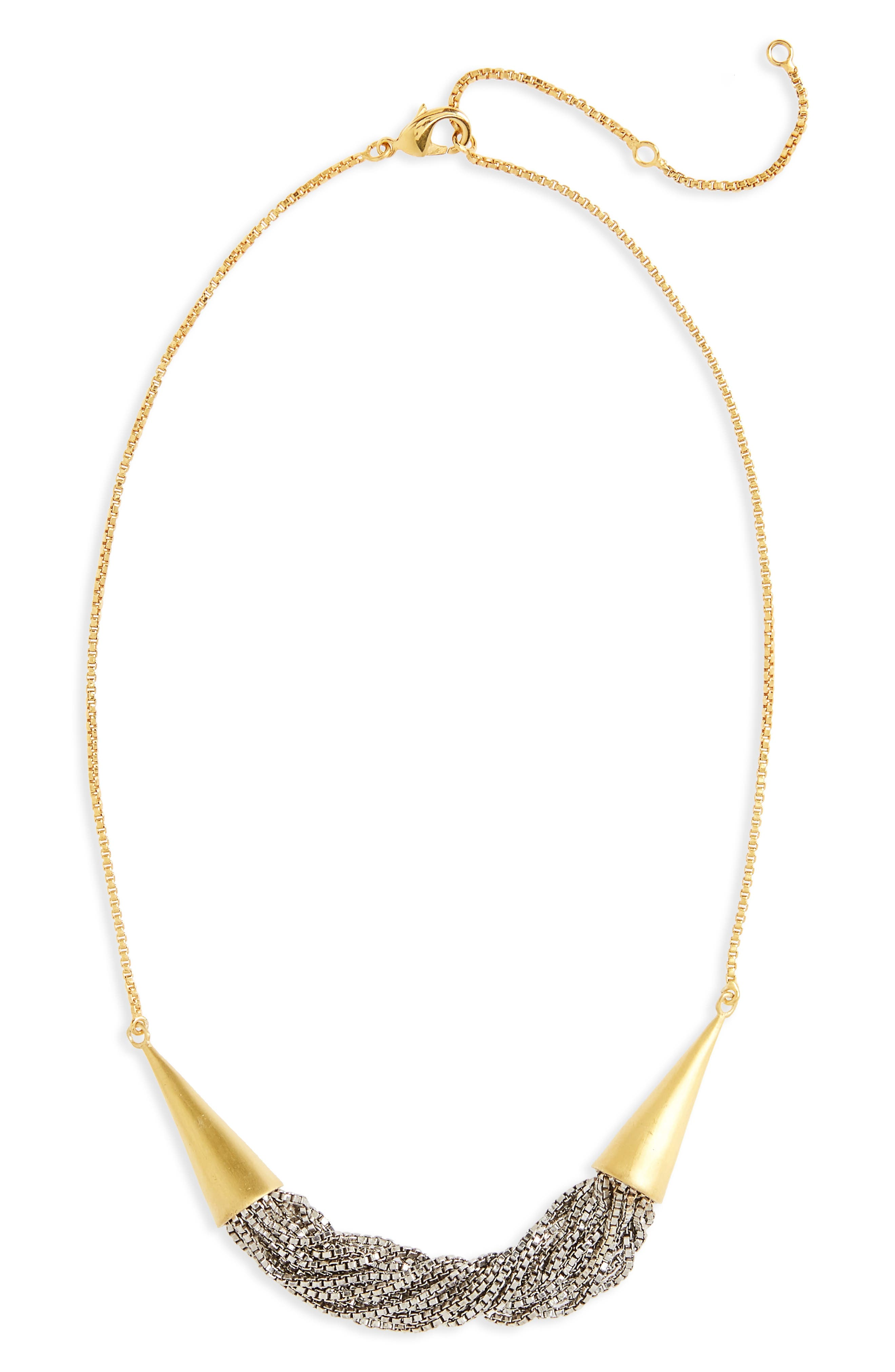Liquid Chain Collar Necklace,                             Main thumbnail 1, color,                             Gold/ Silver