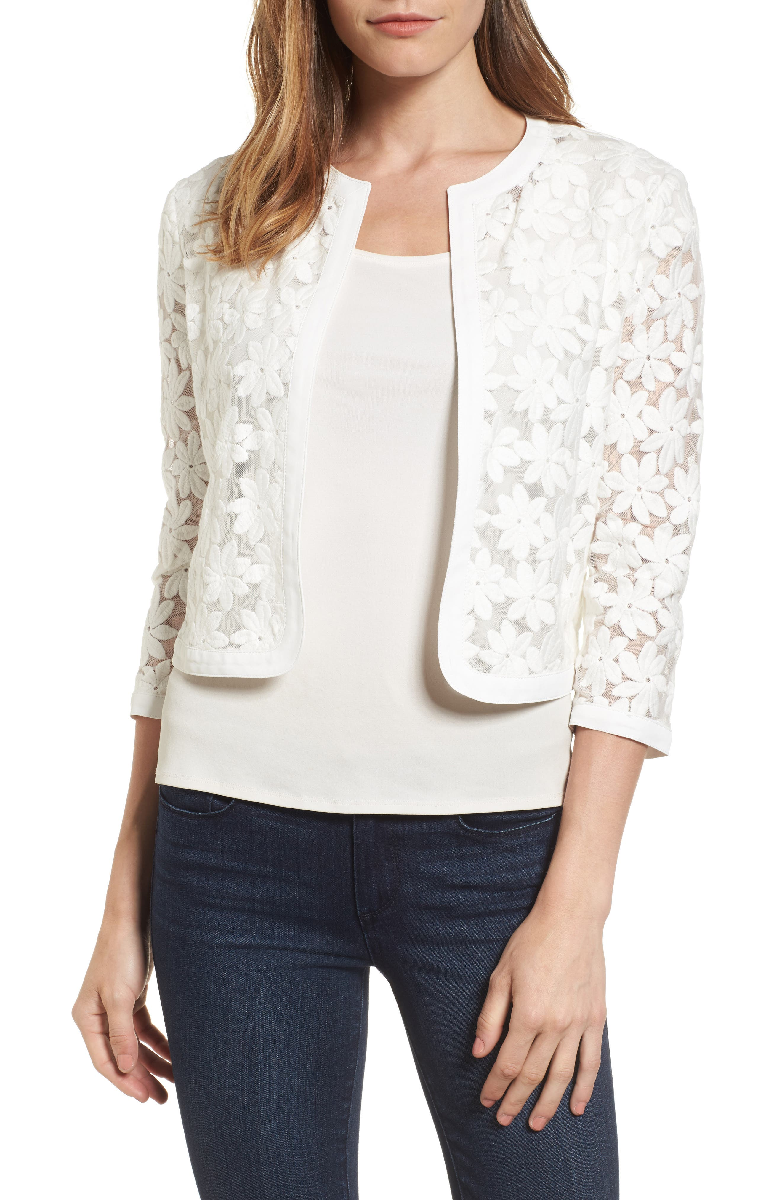 Floral Embroidered Mesh Cardigan,                         Main,                         color, White