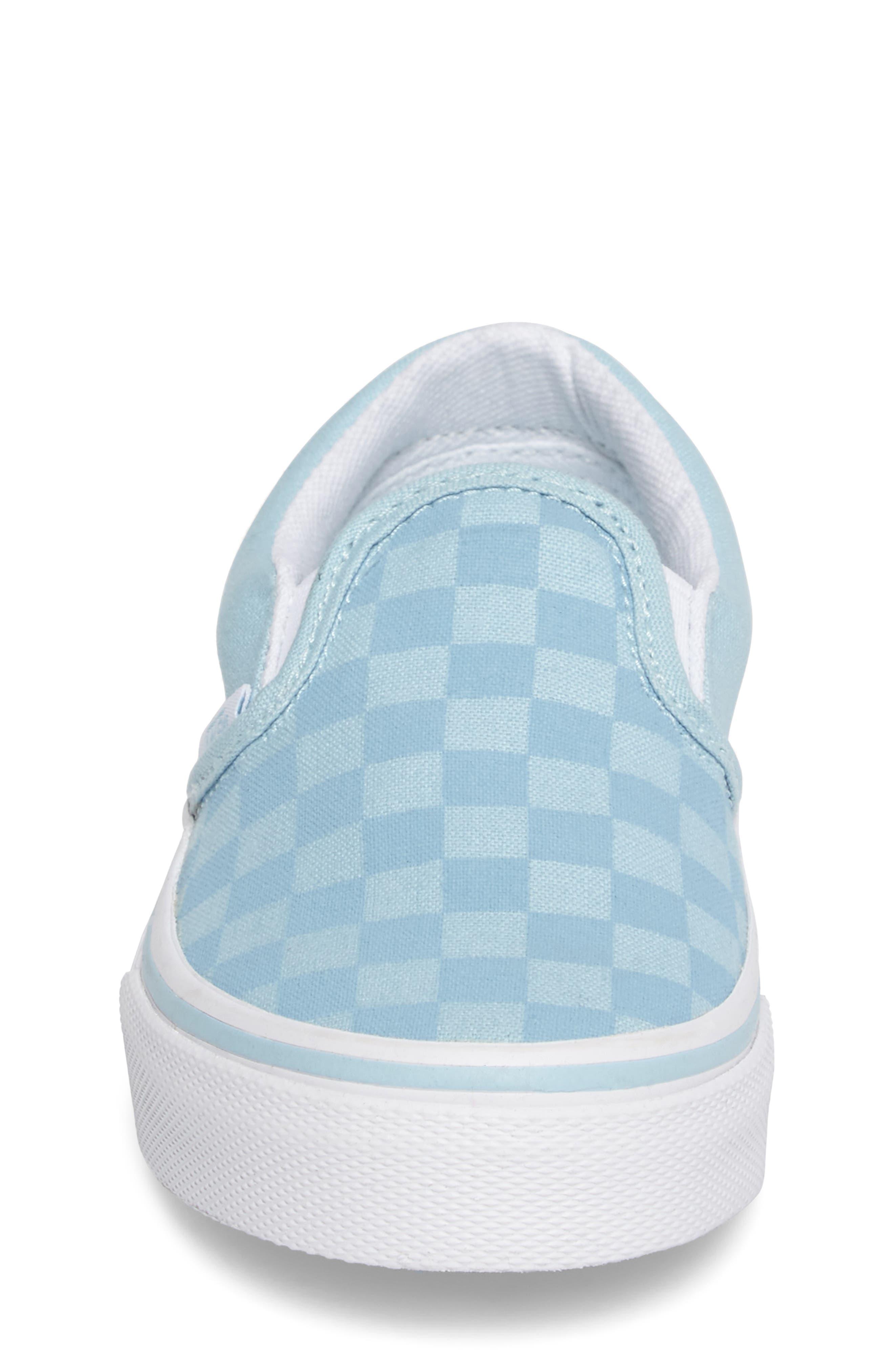 Classic Slip-On Sneaker,                             Alternate thumbnail 4, color,                             Crystal Blue Tonal Check