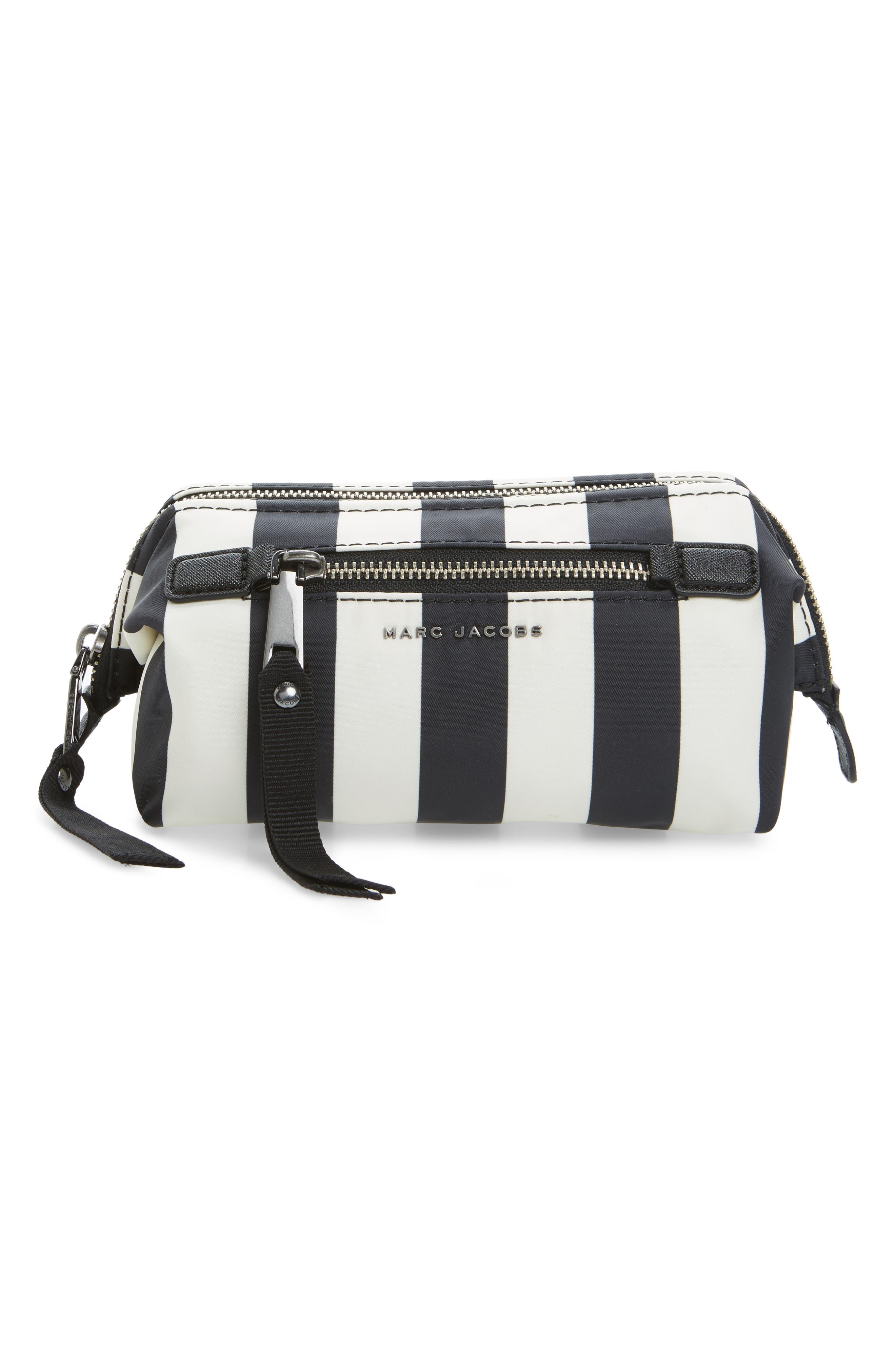 Stripes Trooper Cosmetics Bag,                             Main thumbnail 1, color,                             Black Multi