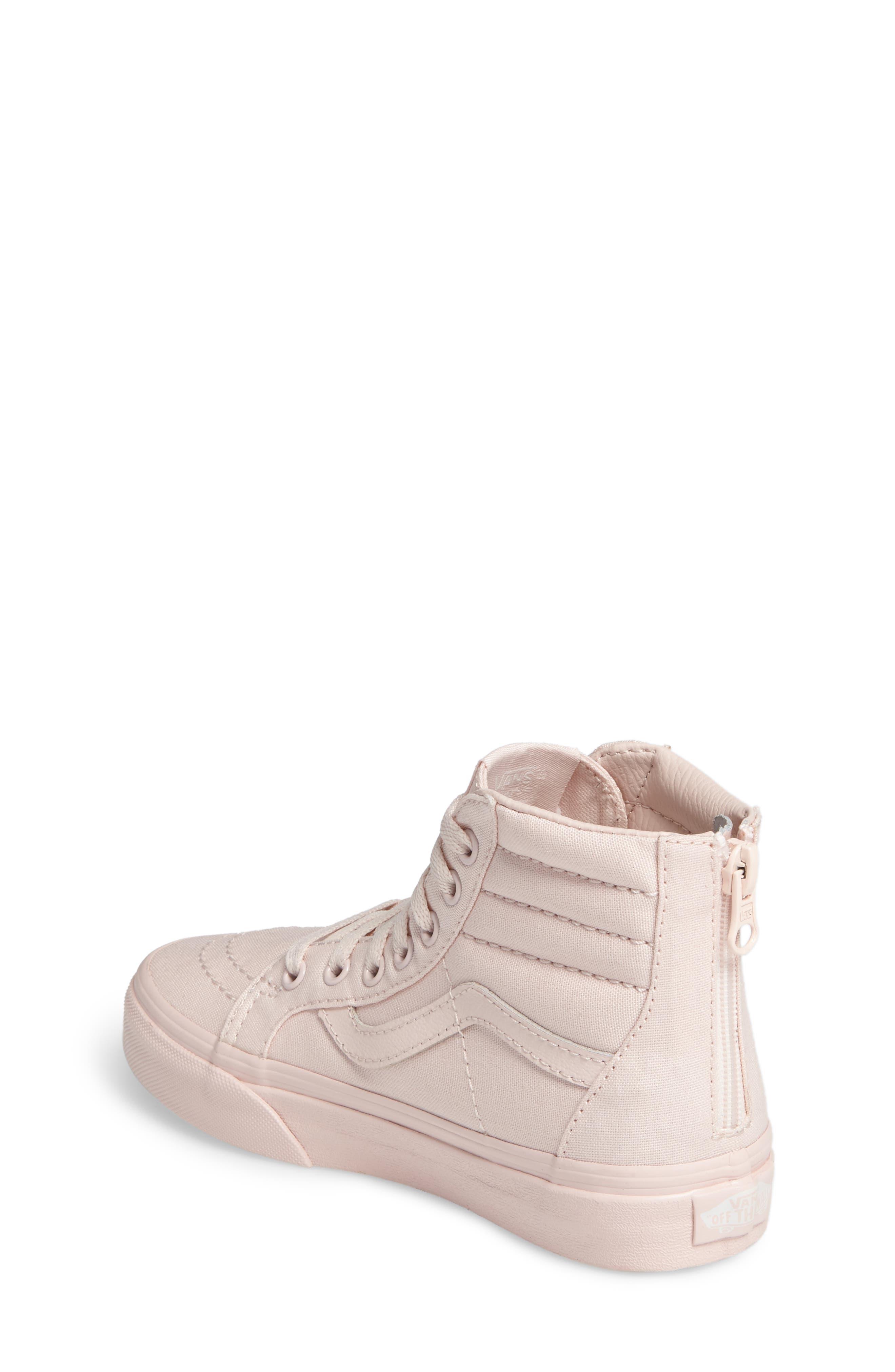 SK8-Hi Zip Sneaker,                             Alternate thumbnail 2, color,                             Peach Blush Canvas
