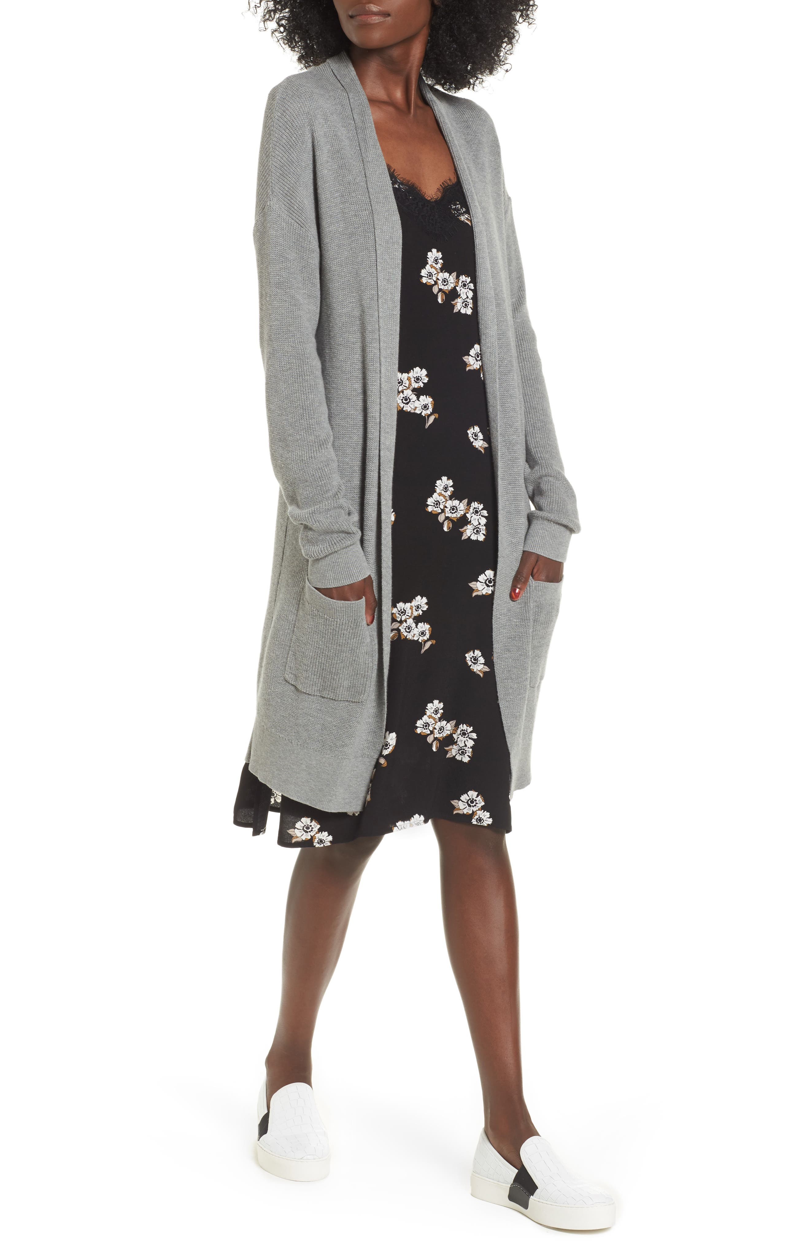 Lightweight Rib Stitch Cardigan,                         Main,                         color, Grey Med Heather
