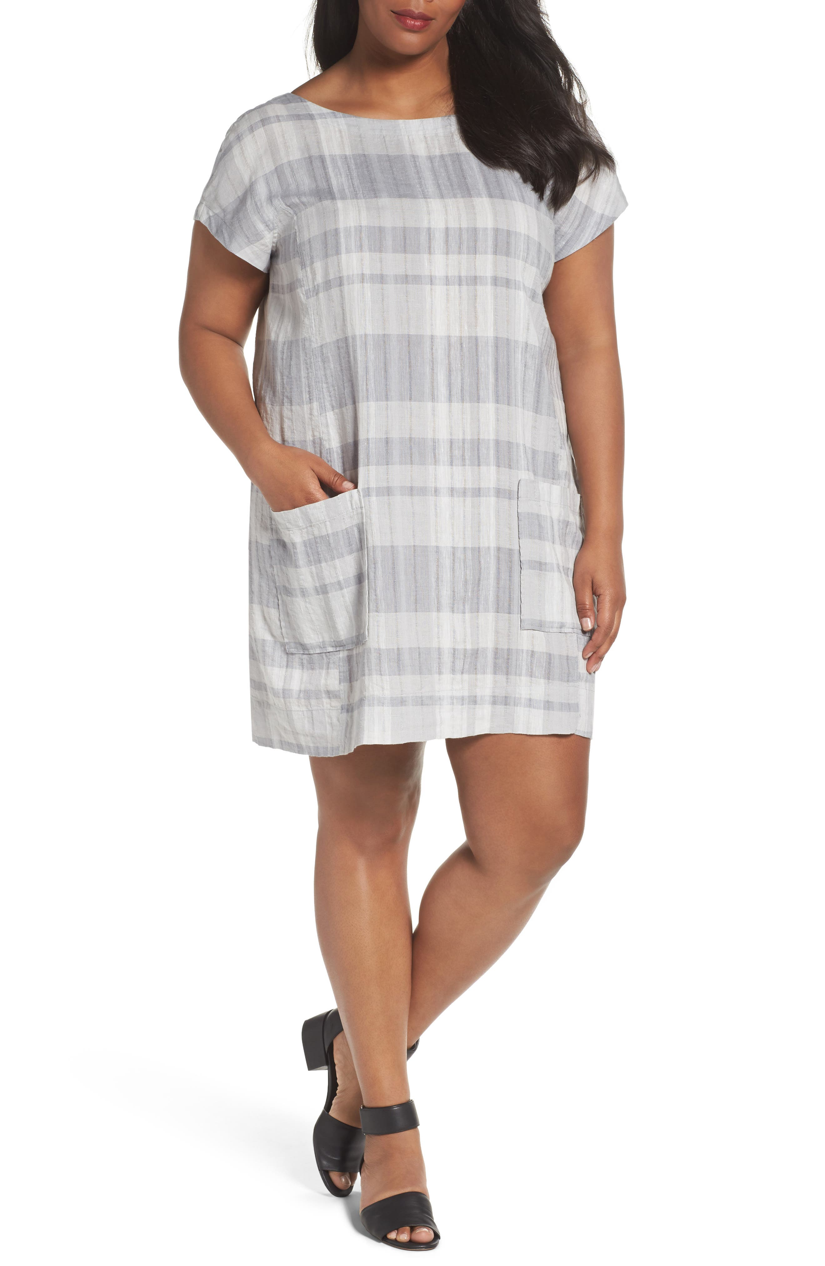 Eileen Fisher Plaid Organic Shift Dress (Plus Size)