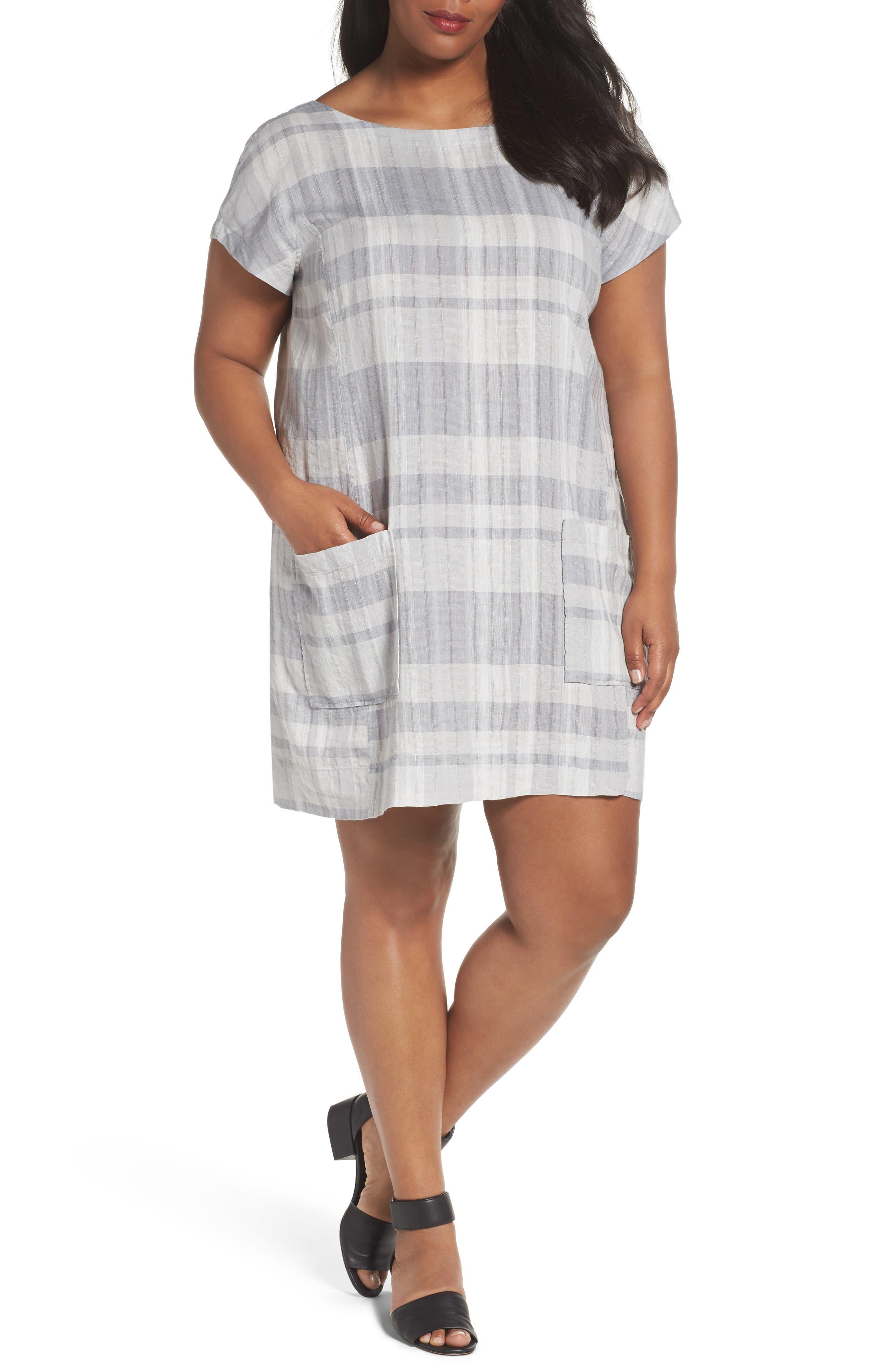 Eileen Fisher Plaid Organic Shift Dress (Plus Size)