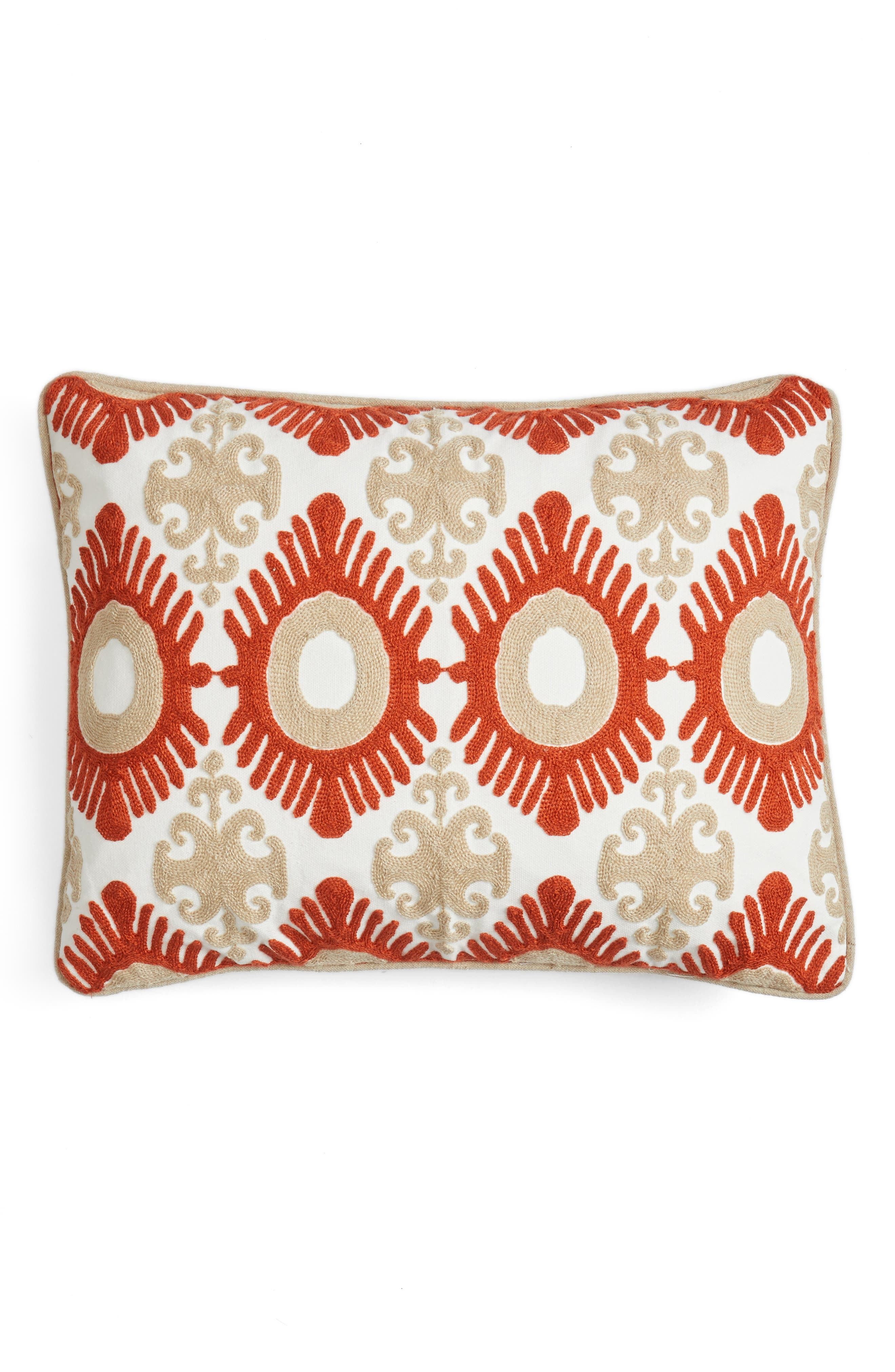Fira Crewel Stitch Accent Pillow,                         Main,                         color, Red