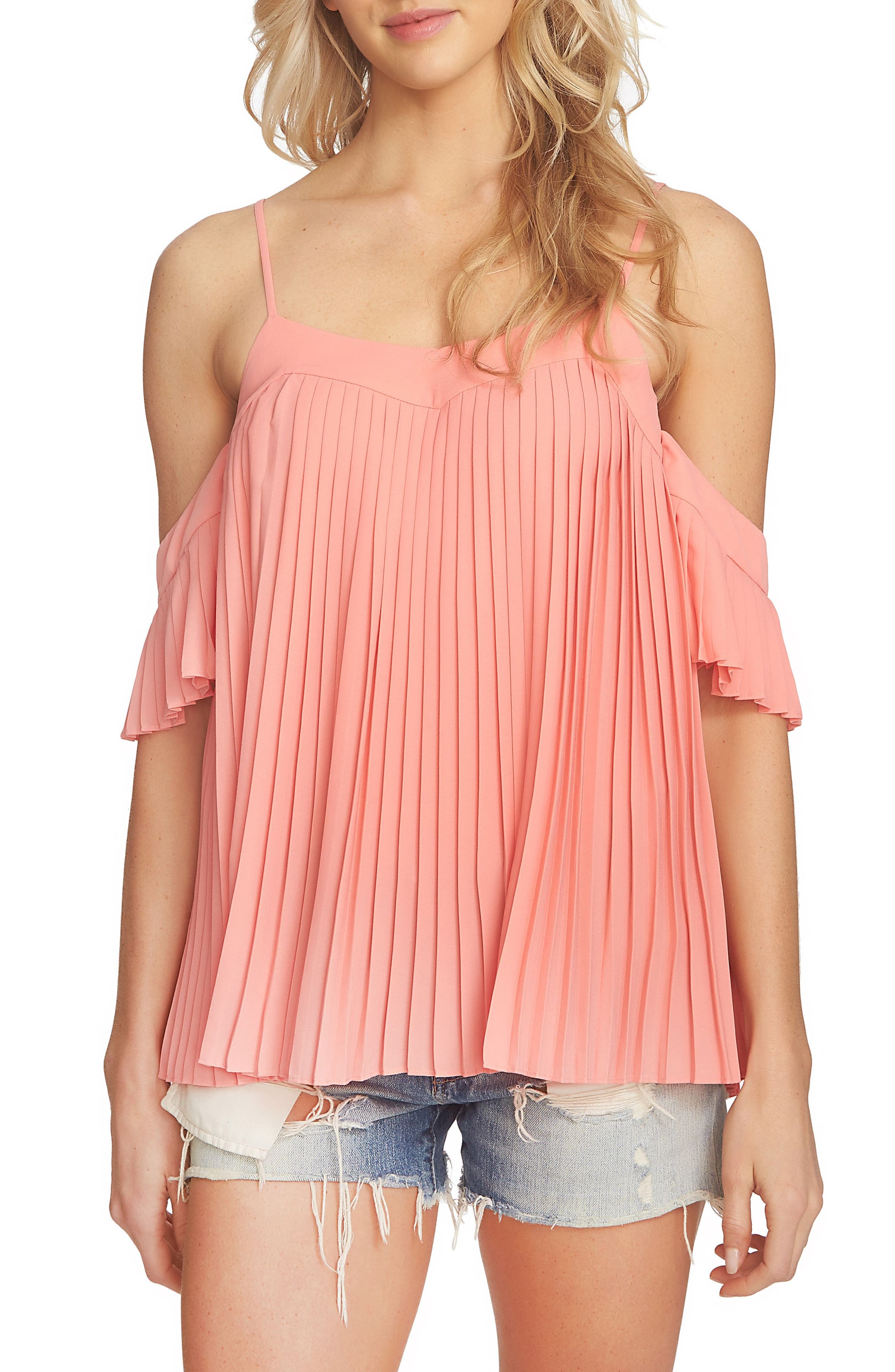 1.STATE Pleated Off the Shoulder Top