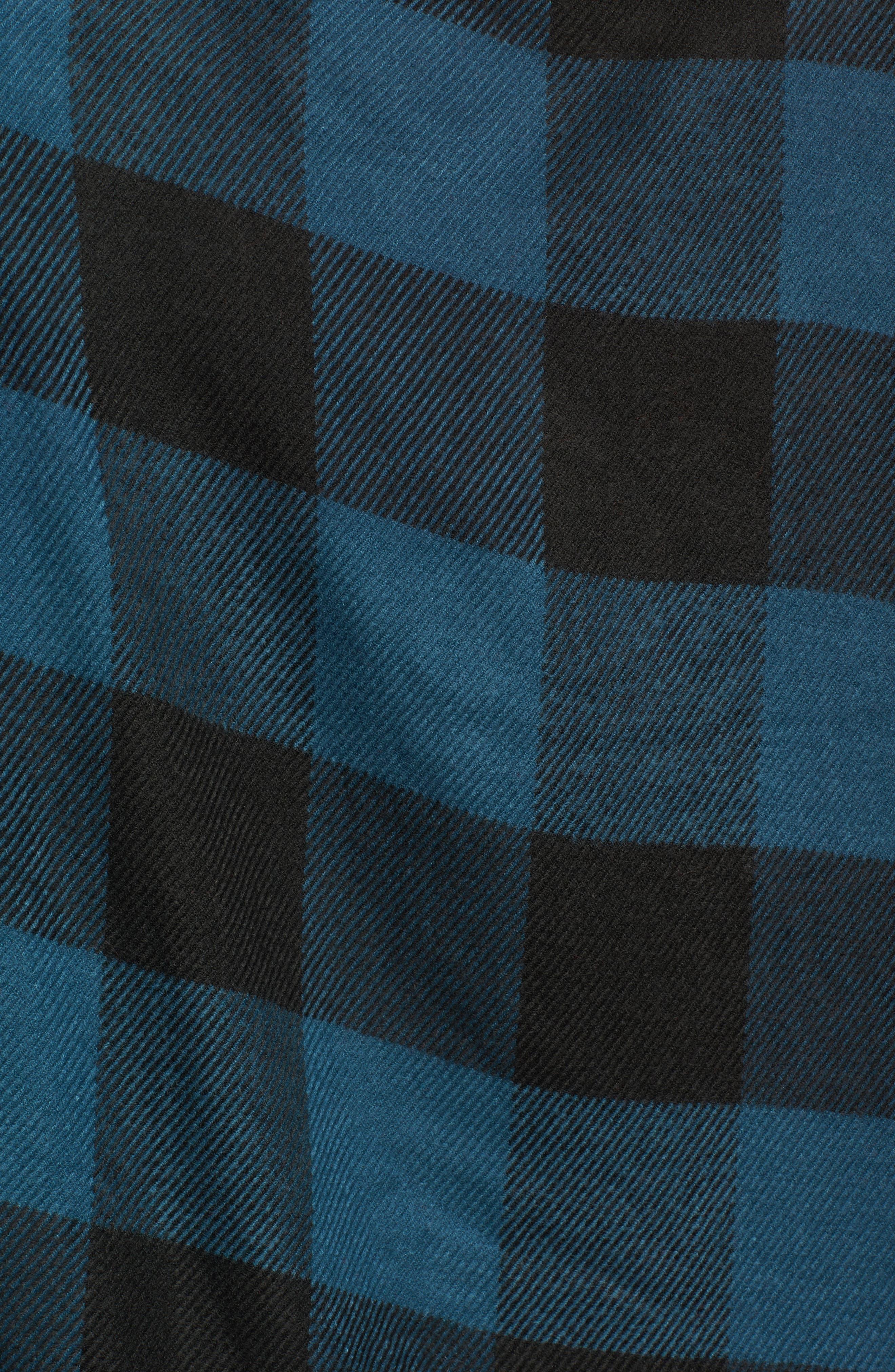 Woven Buffalo Check Ruana,                             Alternate thumbnail 6, color,                             Blue Combo