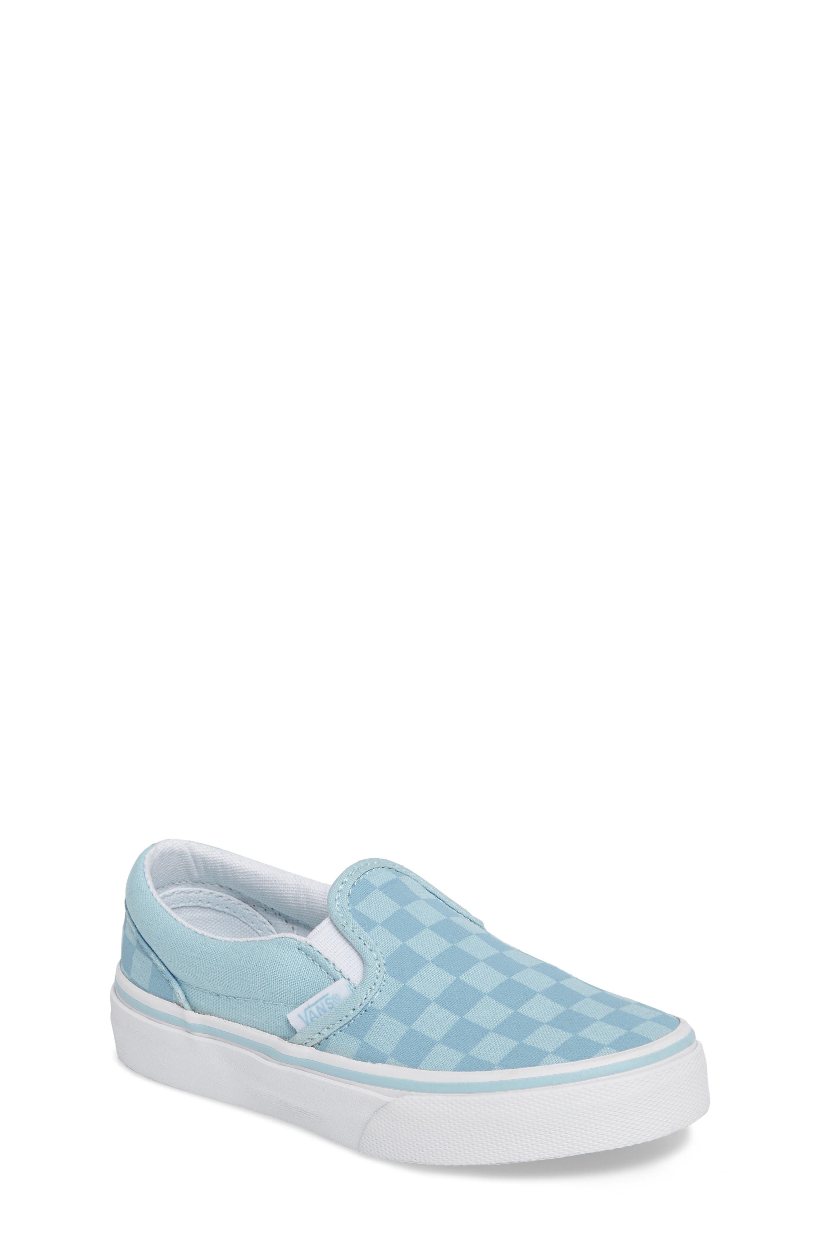 Classic Slip-On Sneaker,                             Main thumbnail 1, color,                             Crystal Blue Tonal Check