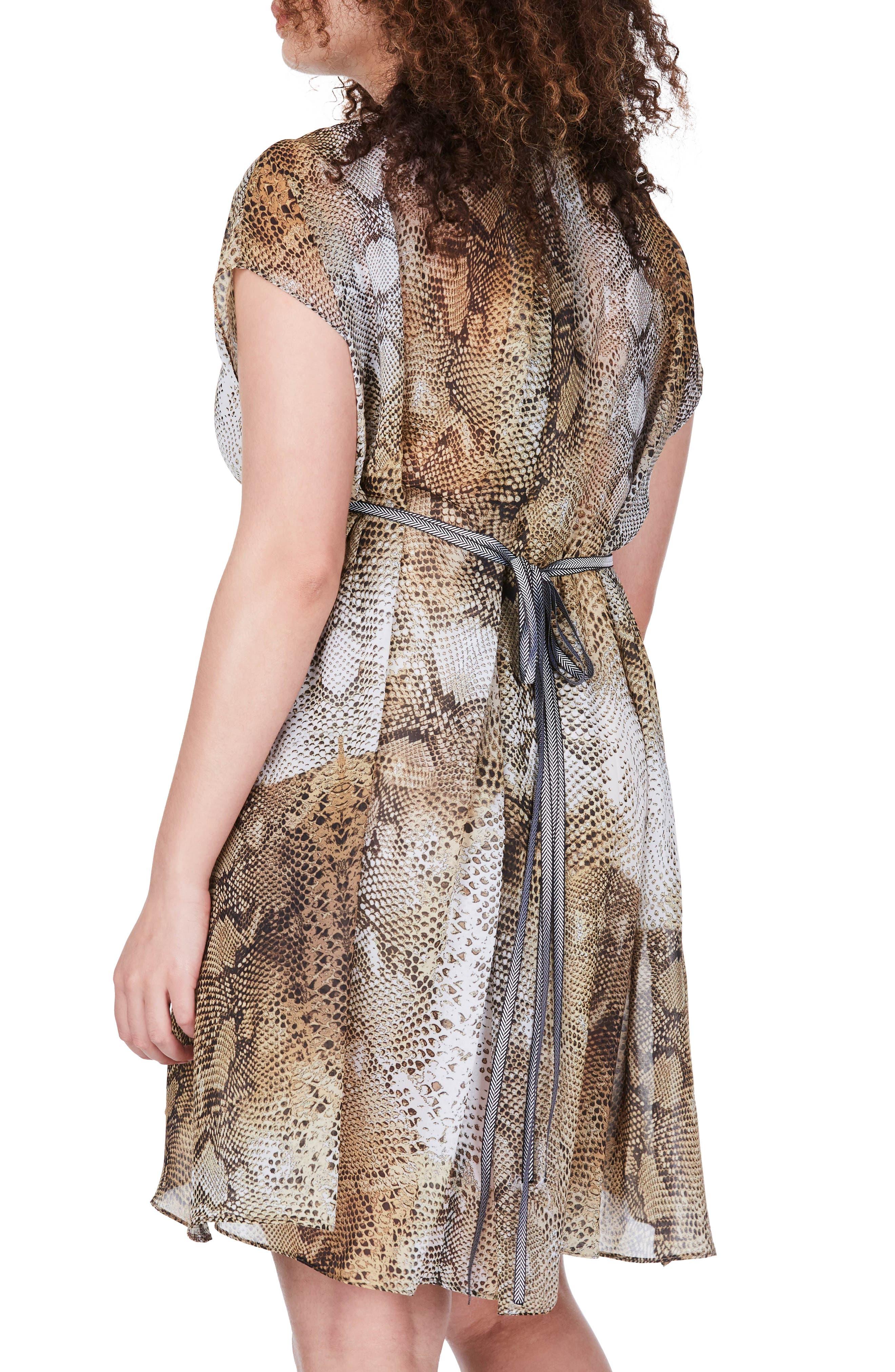Snakeskin Print Fit & Flare Dress,                             Alternate thumbnail 2, color,                             Yellow