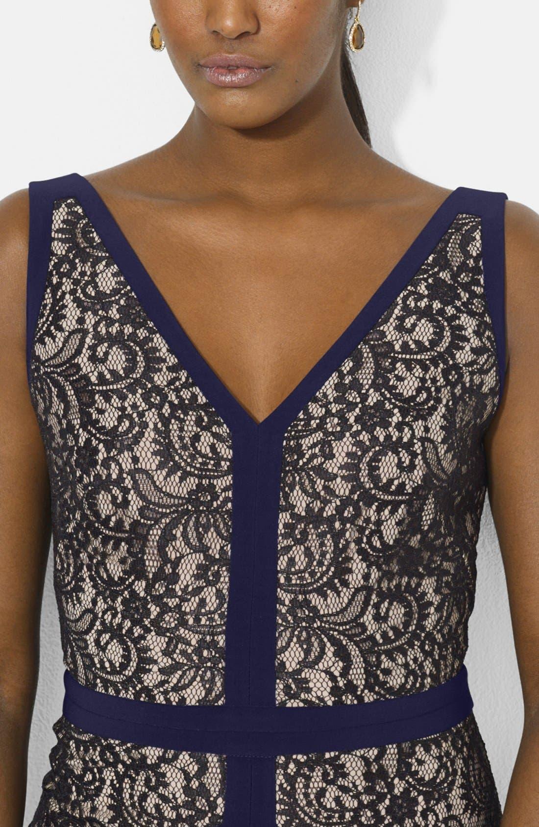 Alternate Image 3  - Lauren Ralph Lauren Lace & Jersey V-Neck Gown (Regular & Petite)