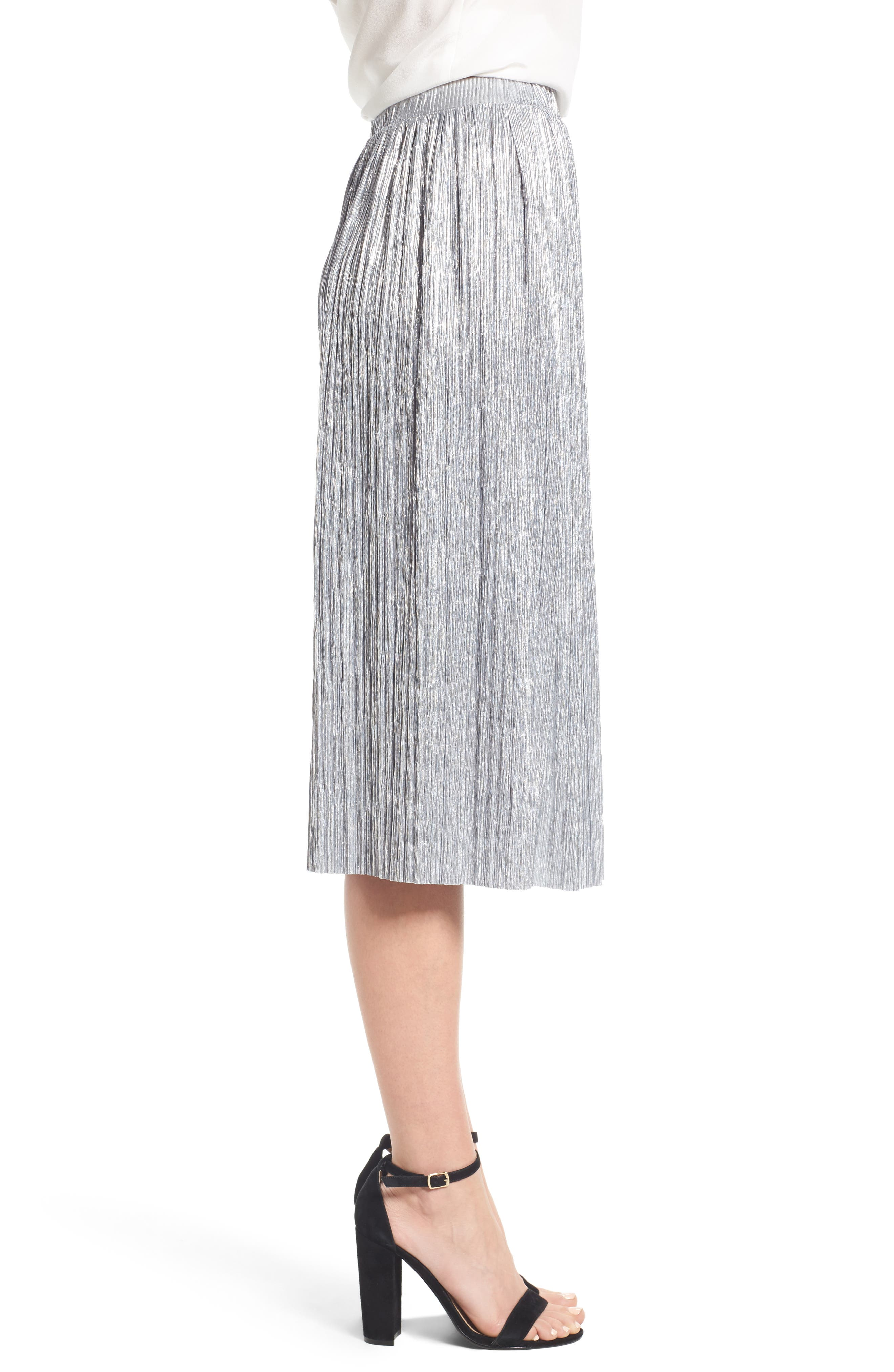 Alternate Image 3  - Vince Camuto Pleat Foiled Knit Skirt