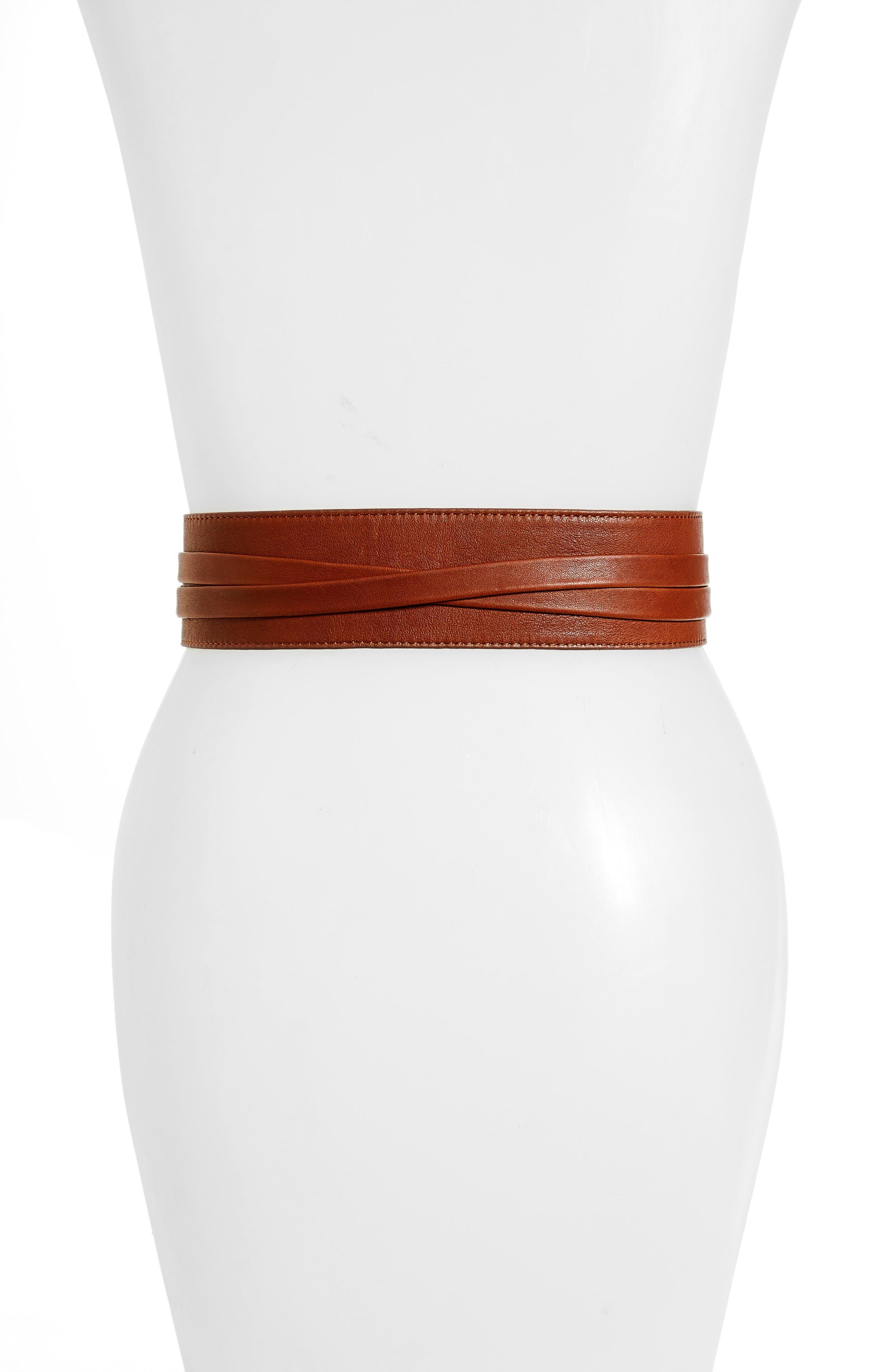 Bronco Leather Wrap Belt,                             Alternate thumbnail 2, color,                             Cognac