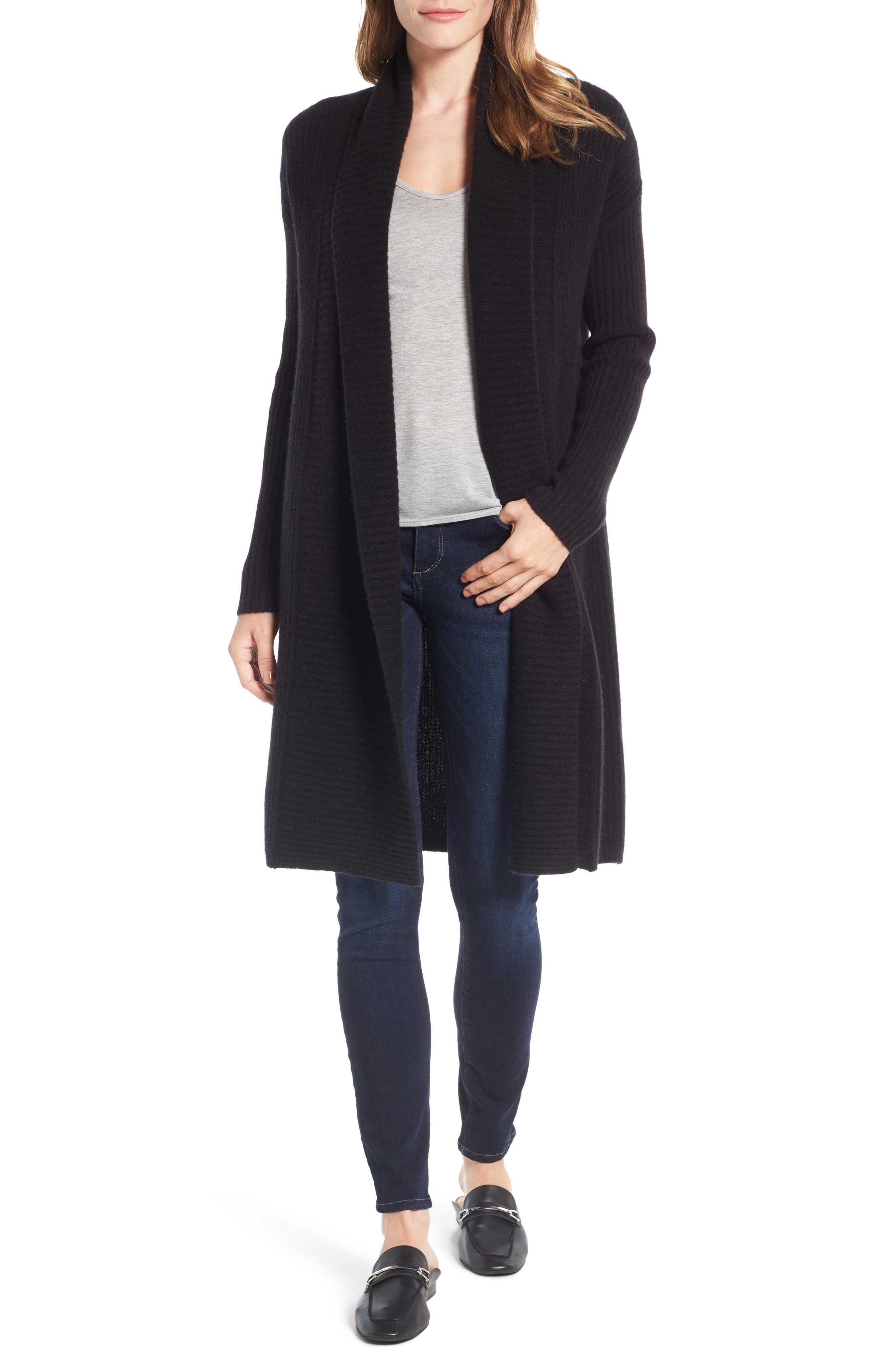 Halogen® Long Ribbed Cashmere Cardigan (Regular & Petite)