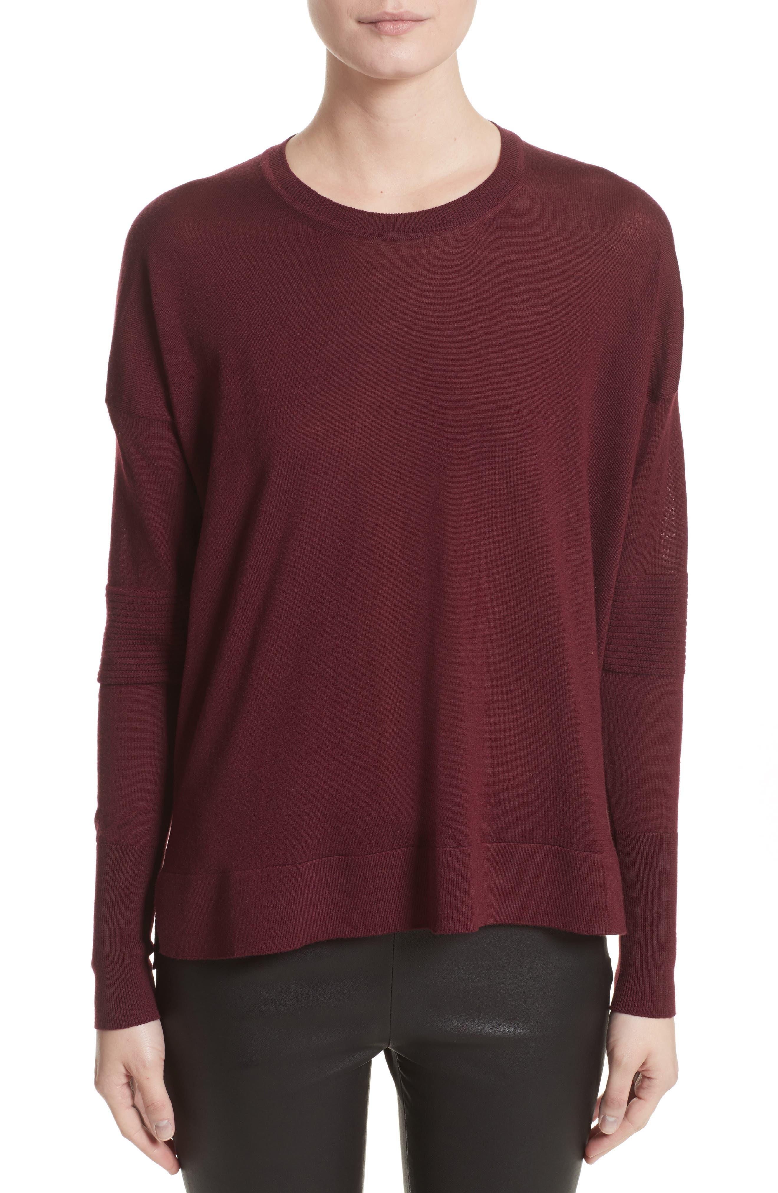 Sarah Wool Sweater,                         Main,                         color, Burgundy