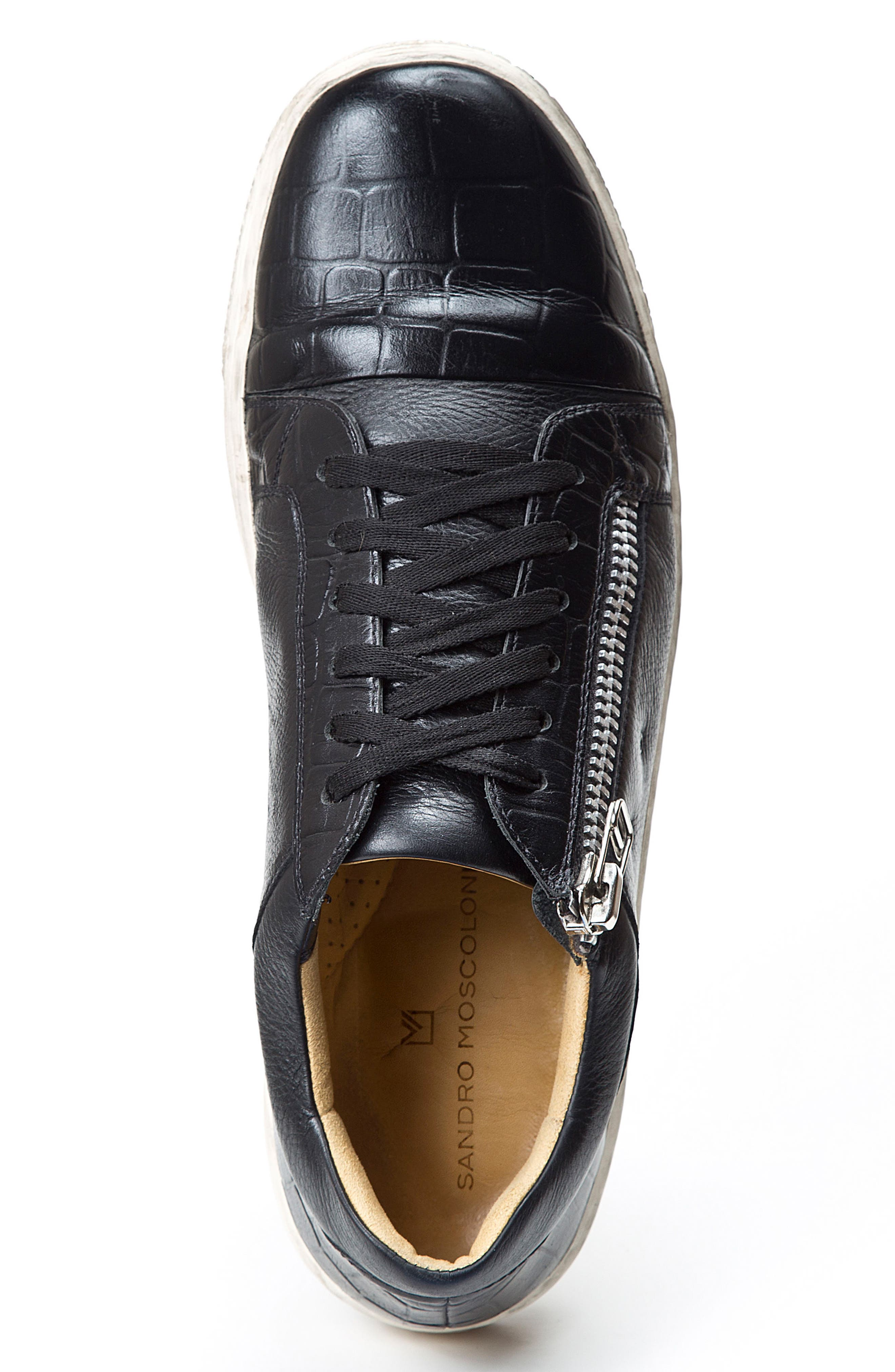 Cassius Side Zip Sneaker,                             Alternate thumbnail 3, color,                             Black Leather