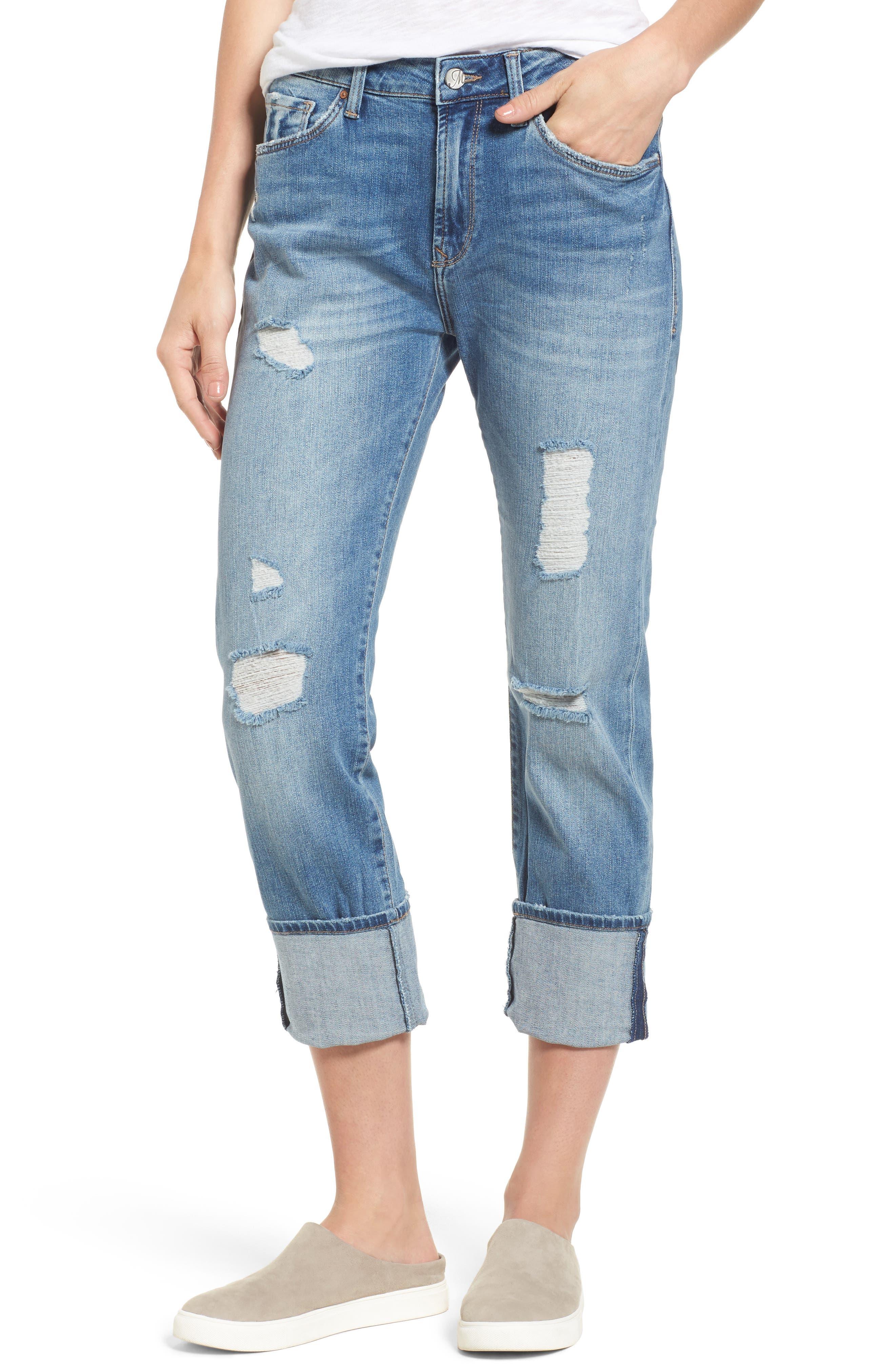 Brenda Distressed Roll Cuff Boyfriend Jeans,                         Main,                         color, Light Indigo Vintage