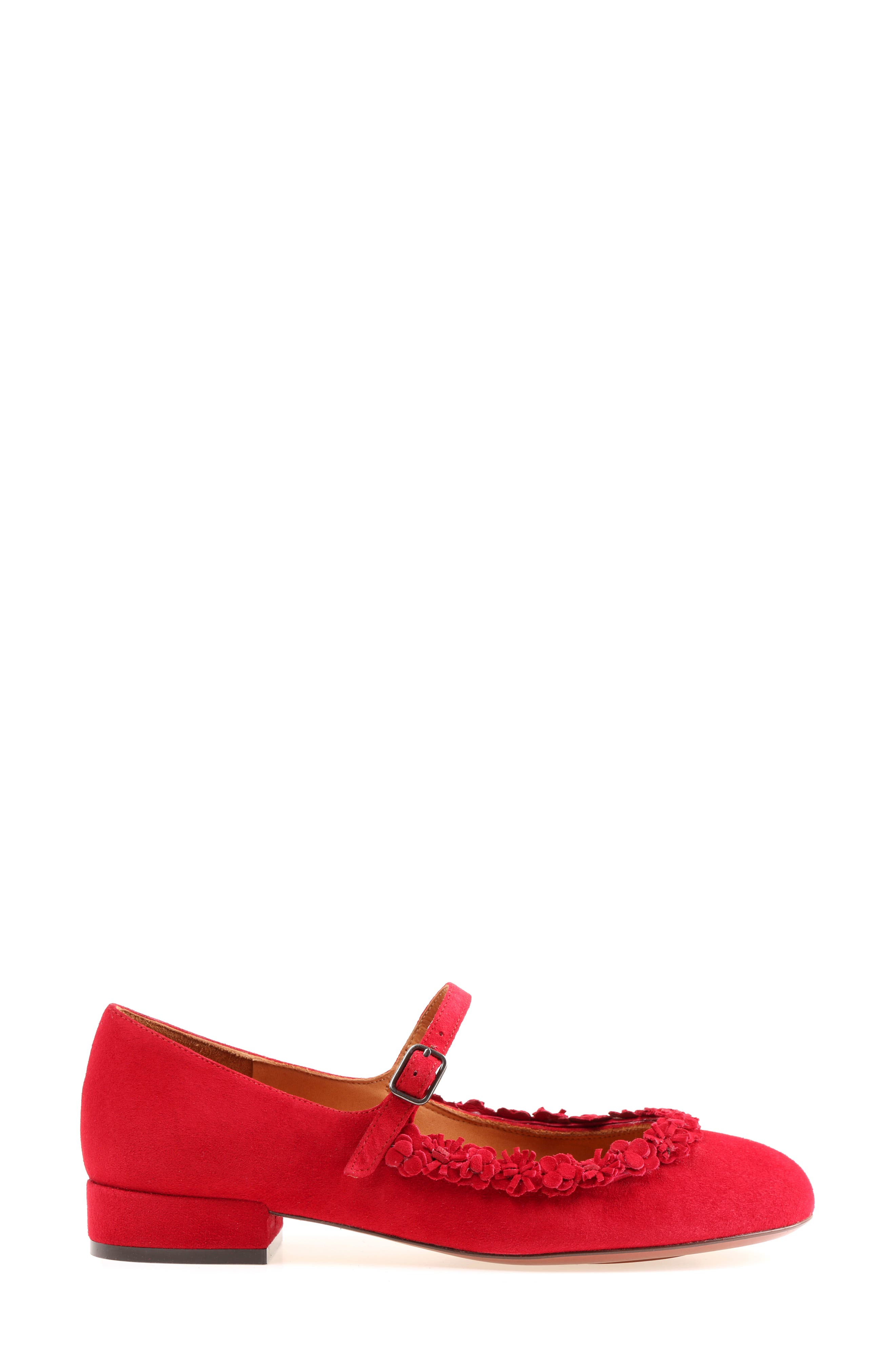 Rizo Mary Jane Flat,                             Alternate thumbnail 3, color,                             Red