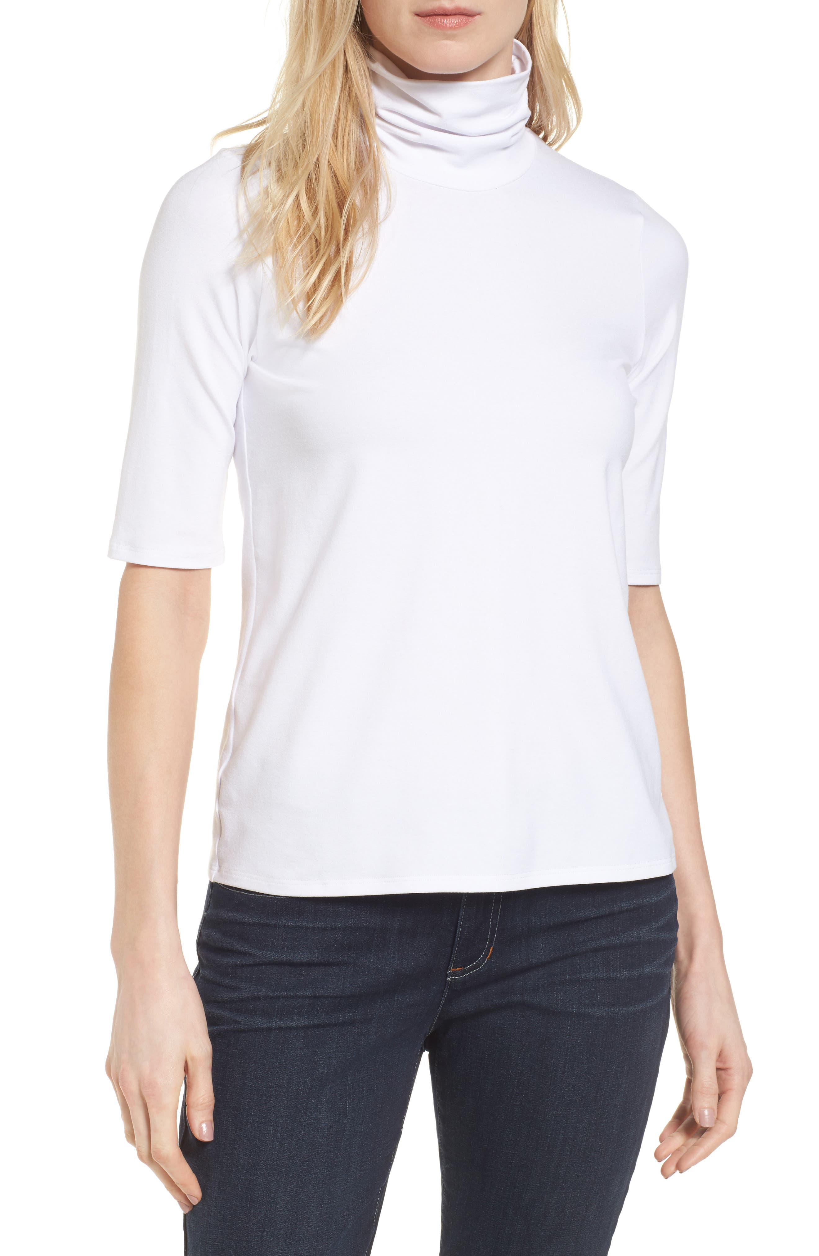 Scrunch Neck Jersey Top,                         Main,                         color, White