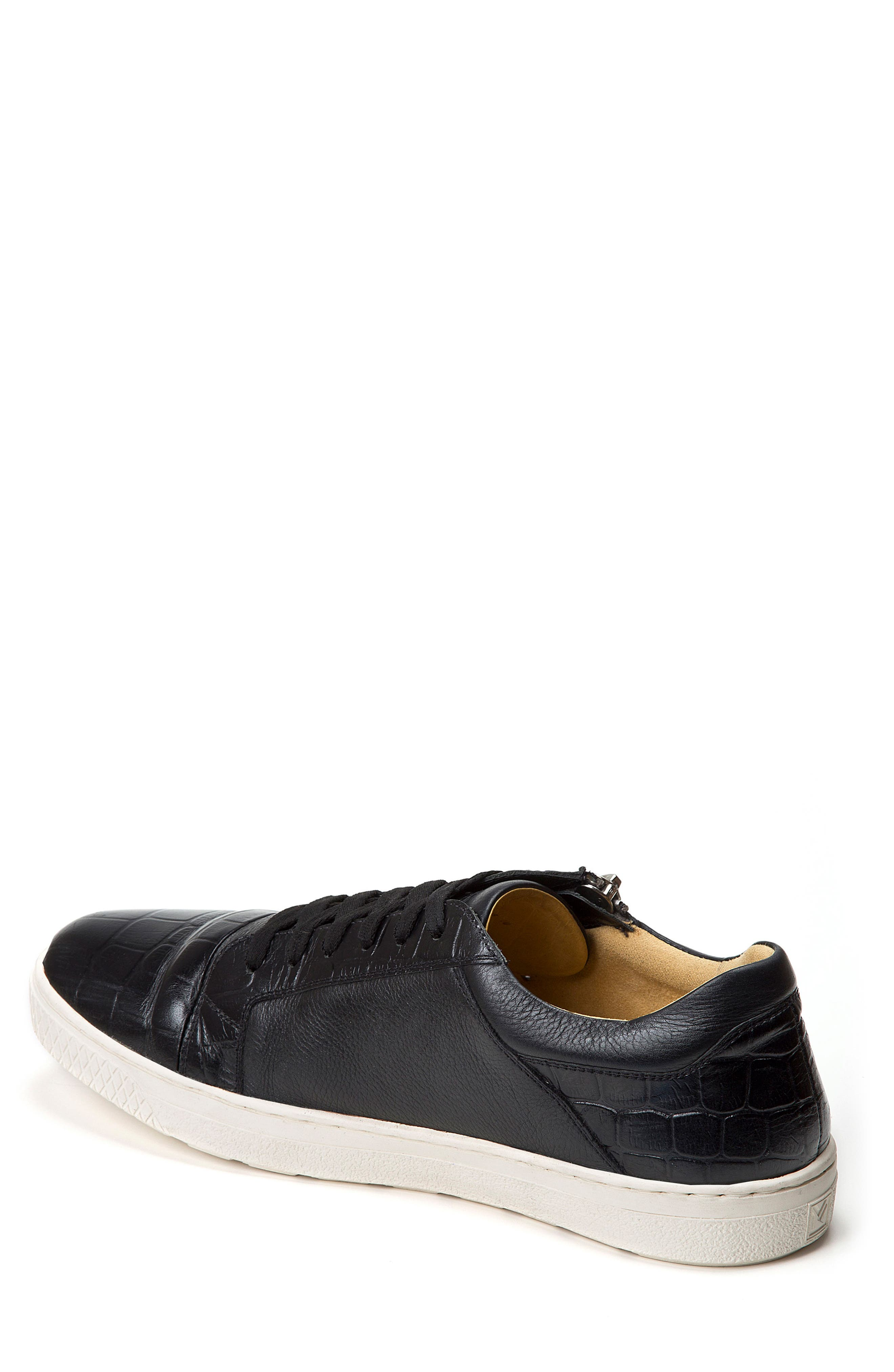 Cassius Side Zip Sneaker,                             Alternate thumbnail 2, color,                             Black Leather