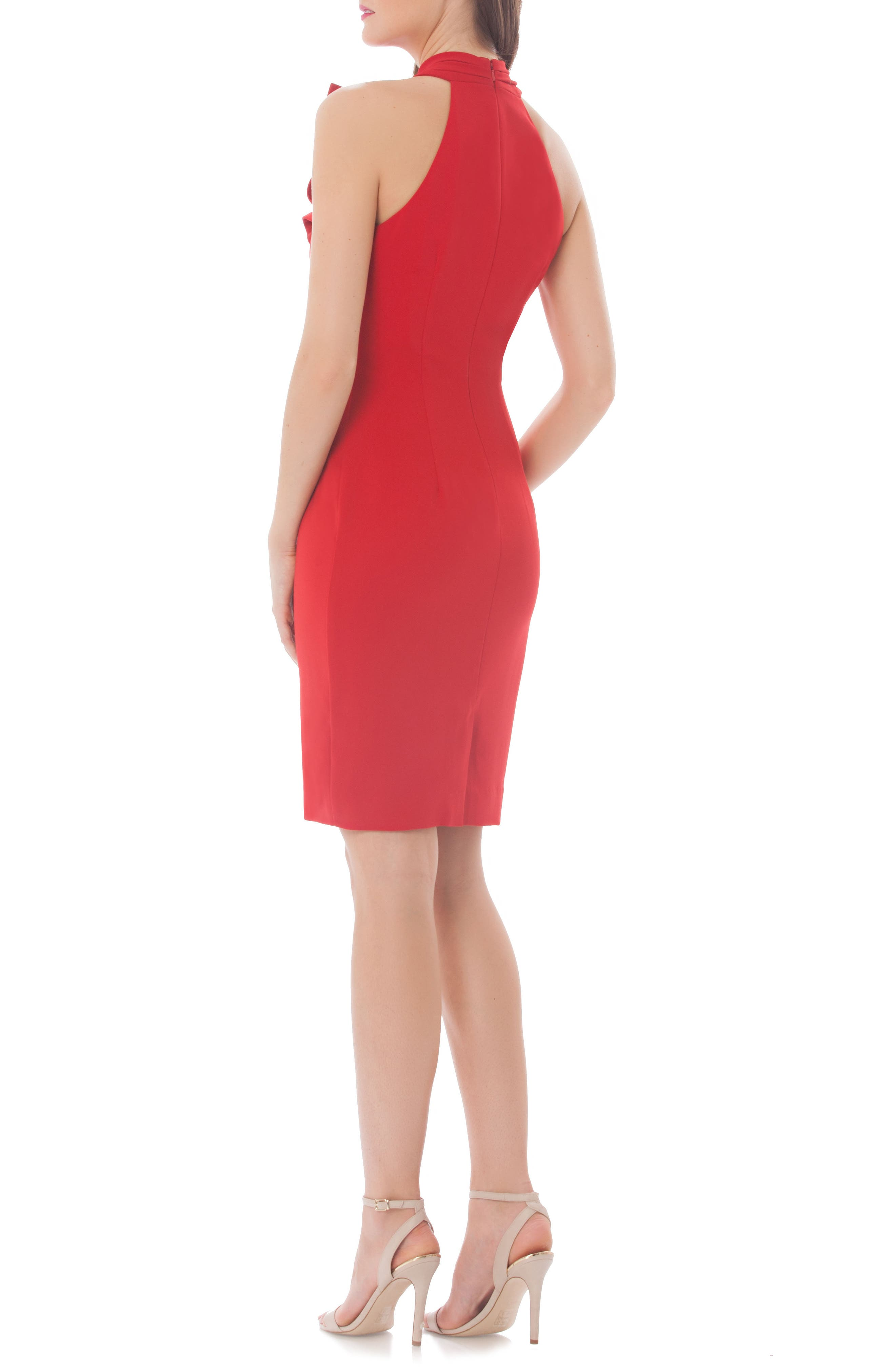 Stretch Sheath Dress,                             Alternate thumbnail 2, color,                             Flame Red