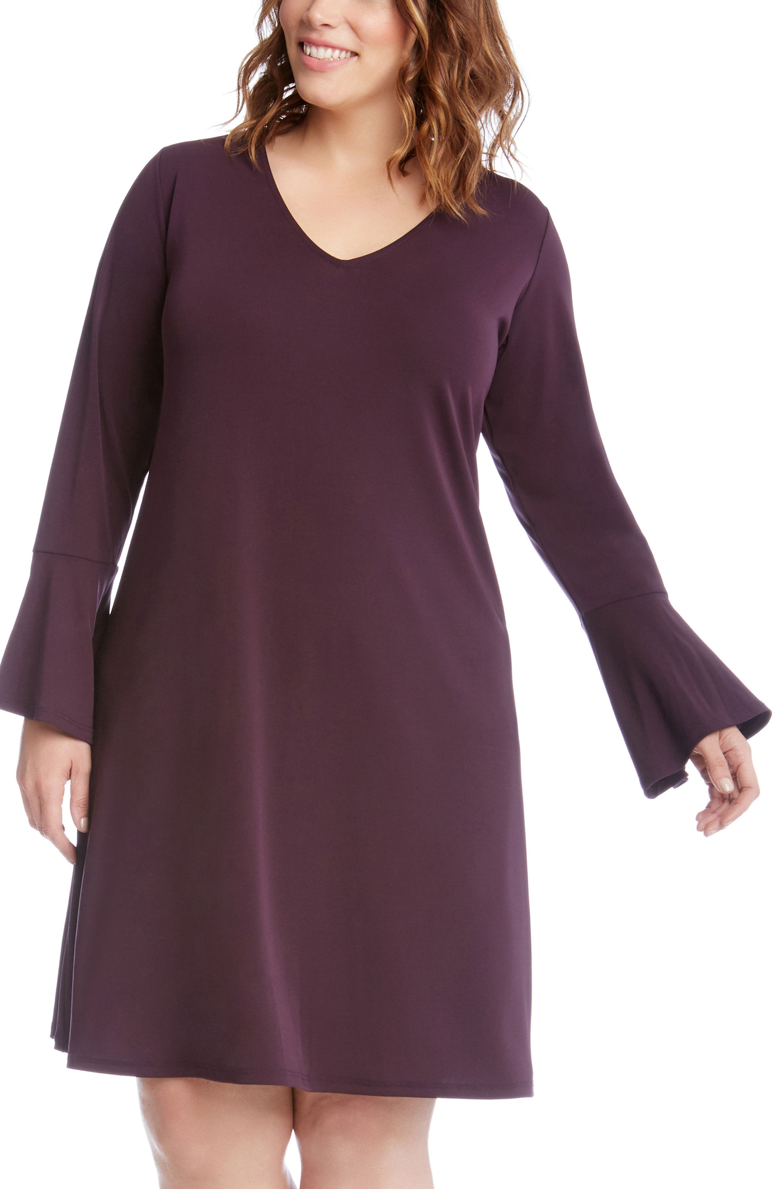 Karen Kane Taylor Bell Sleeve A-Line Dress (Plus Size)