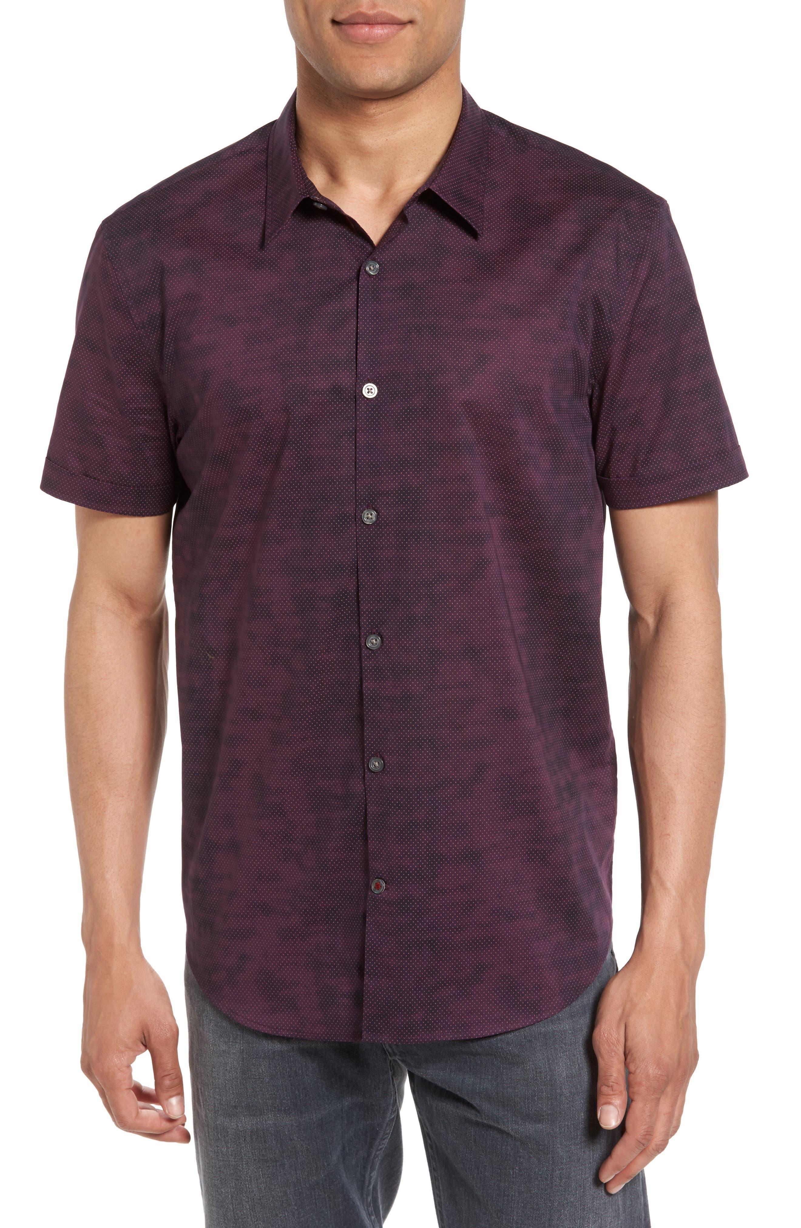John Varvatos Star USA Dot Print Trim Fit Sport Shirt