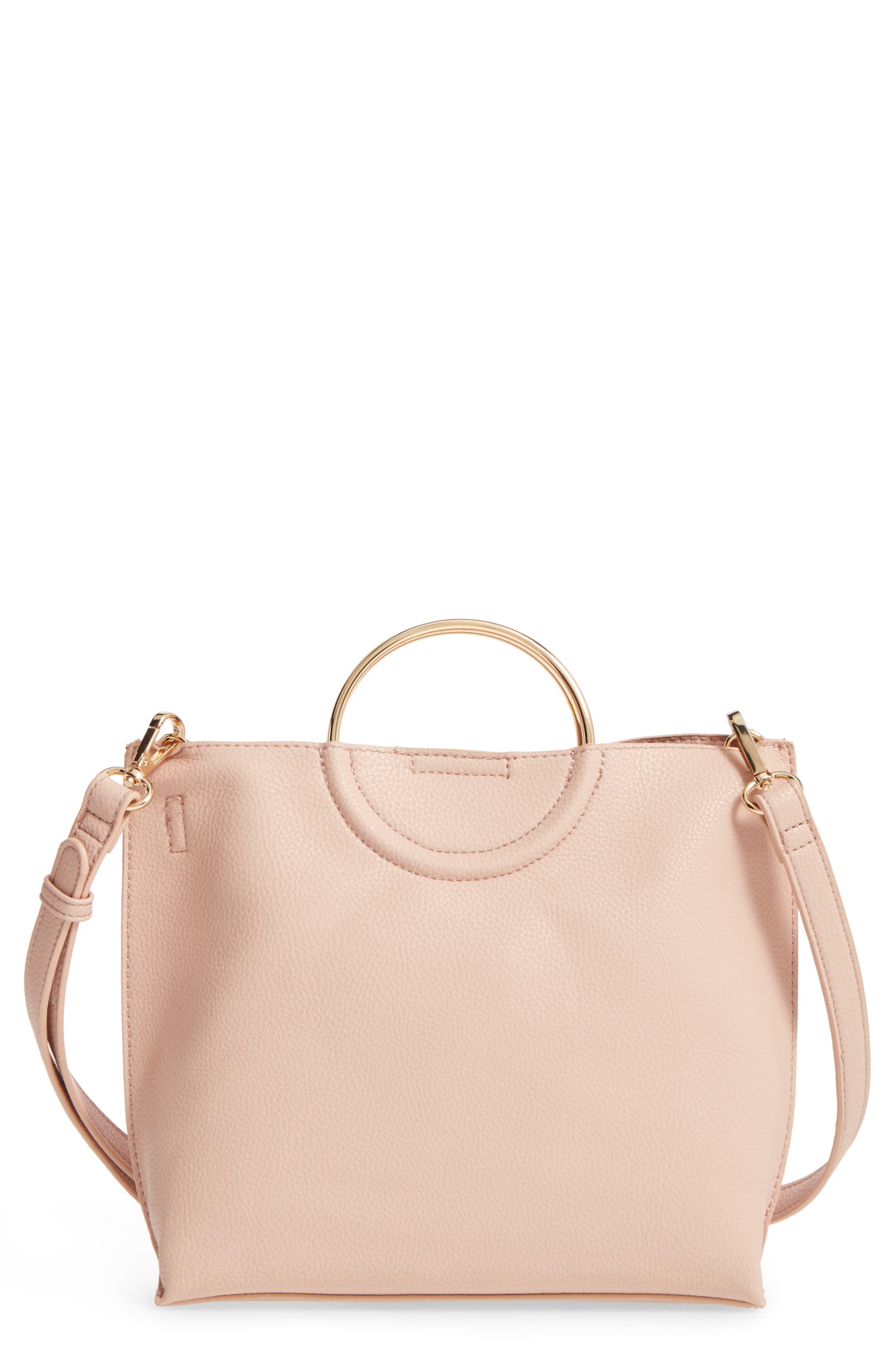 Metal Handle Faux Leather Crossbody Bag,                         Main,                         color, Blush
