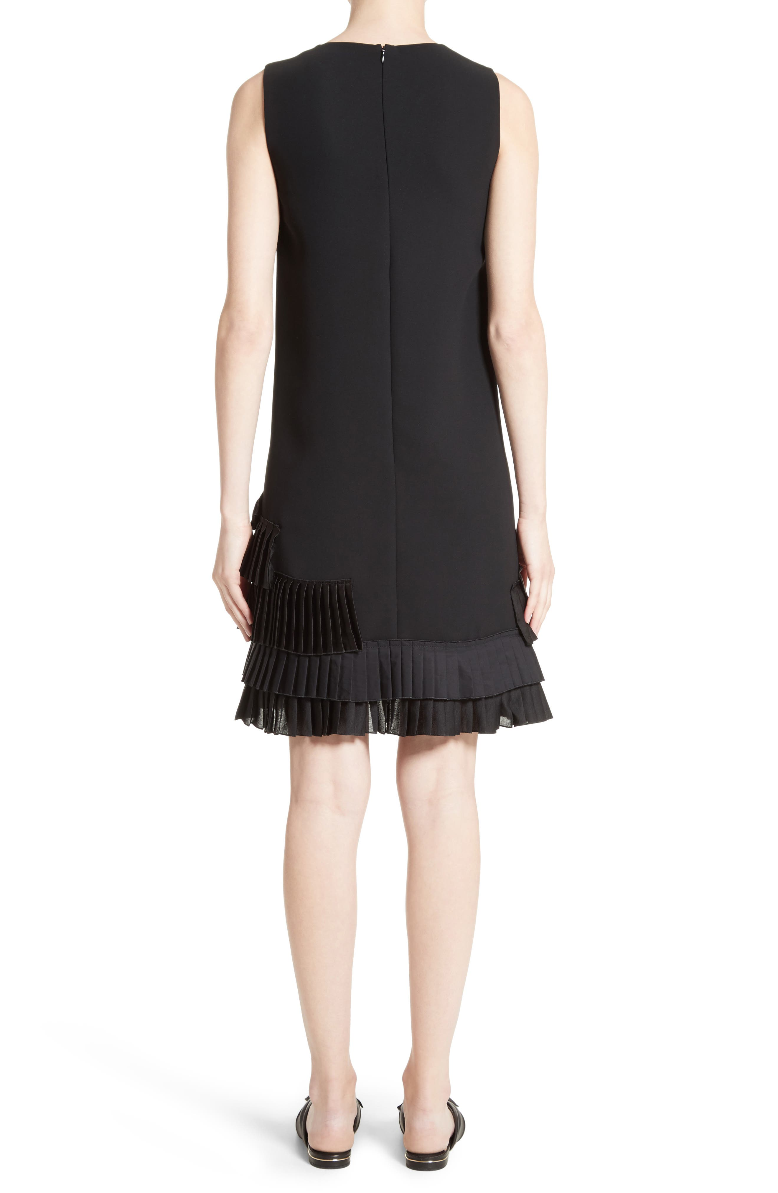 Alternate Image 2  - Victoria, Victoria Beckham Pleated Hem Shift Dress