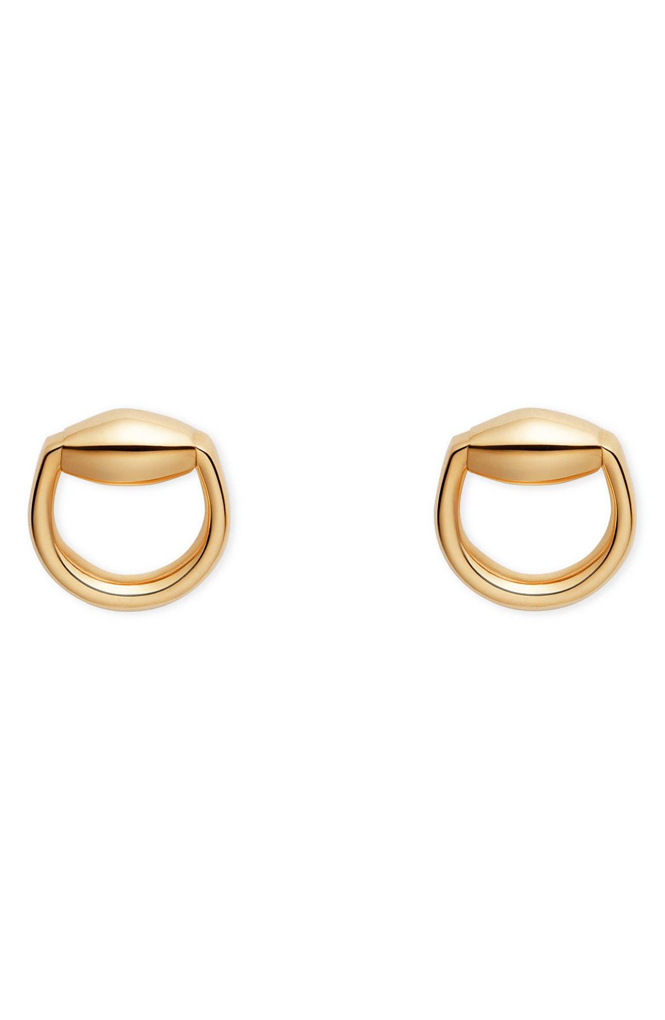Horsebit Stud Earrings,                         Main,                         color, Yellow Gold