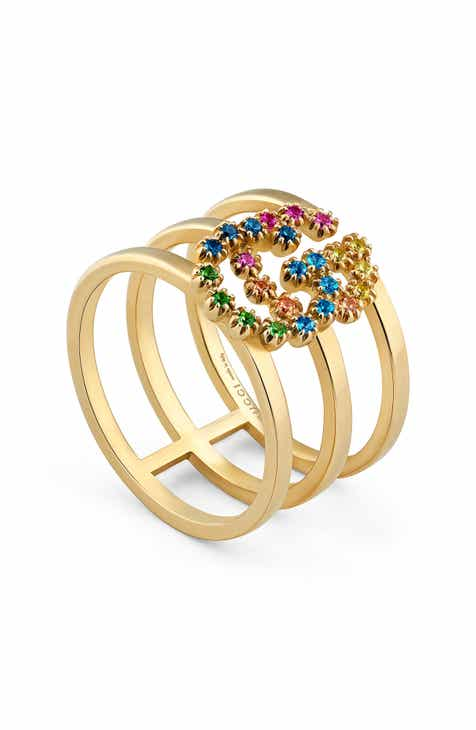 2f94c4f4838 Gucci Double G Multi Stone Three-Row Ring