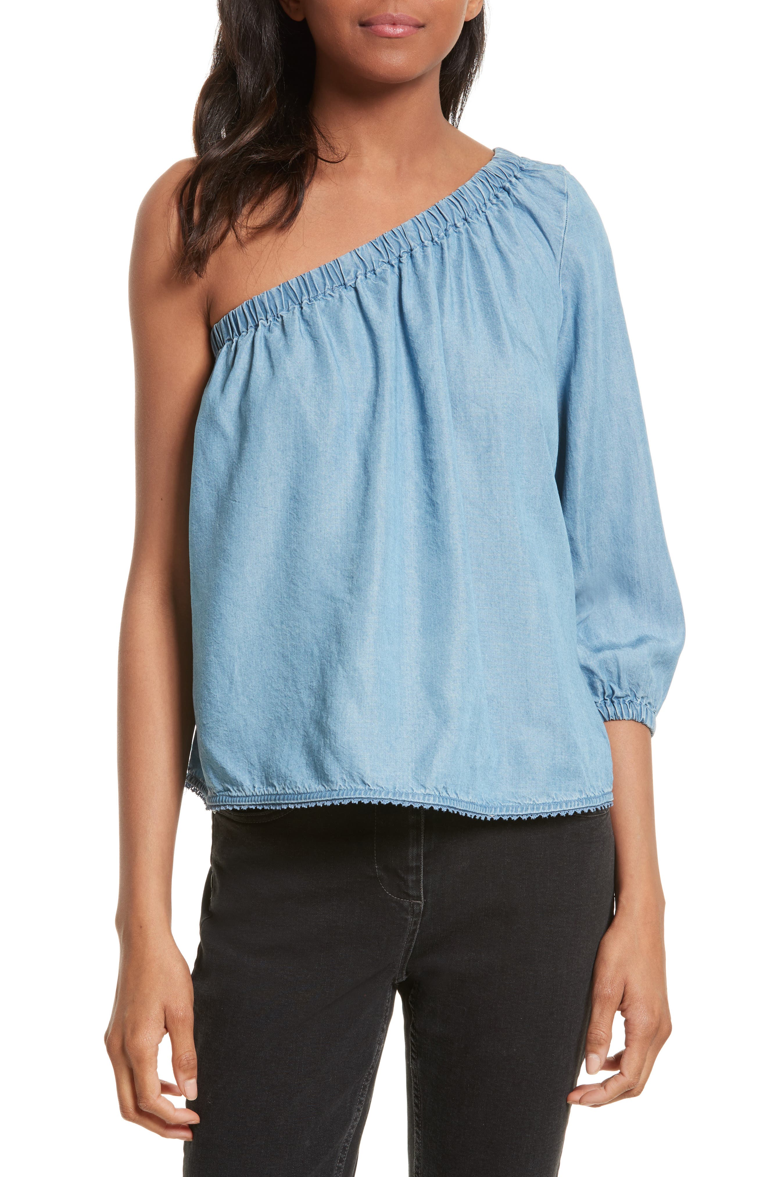 Rebecca Minkoff Harmony One-Shoulder Chambray Top