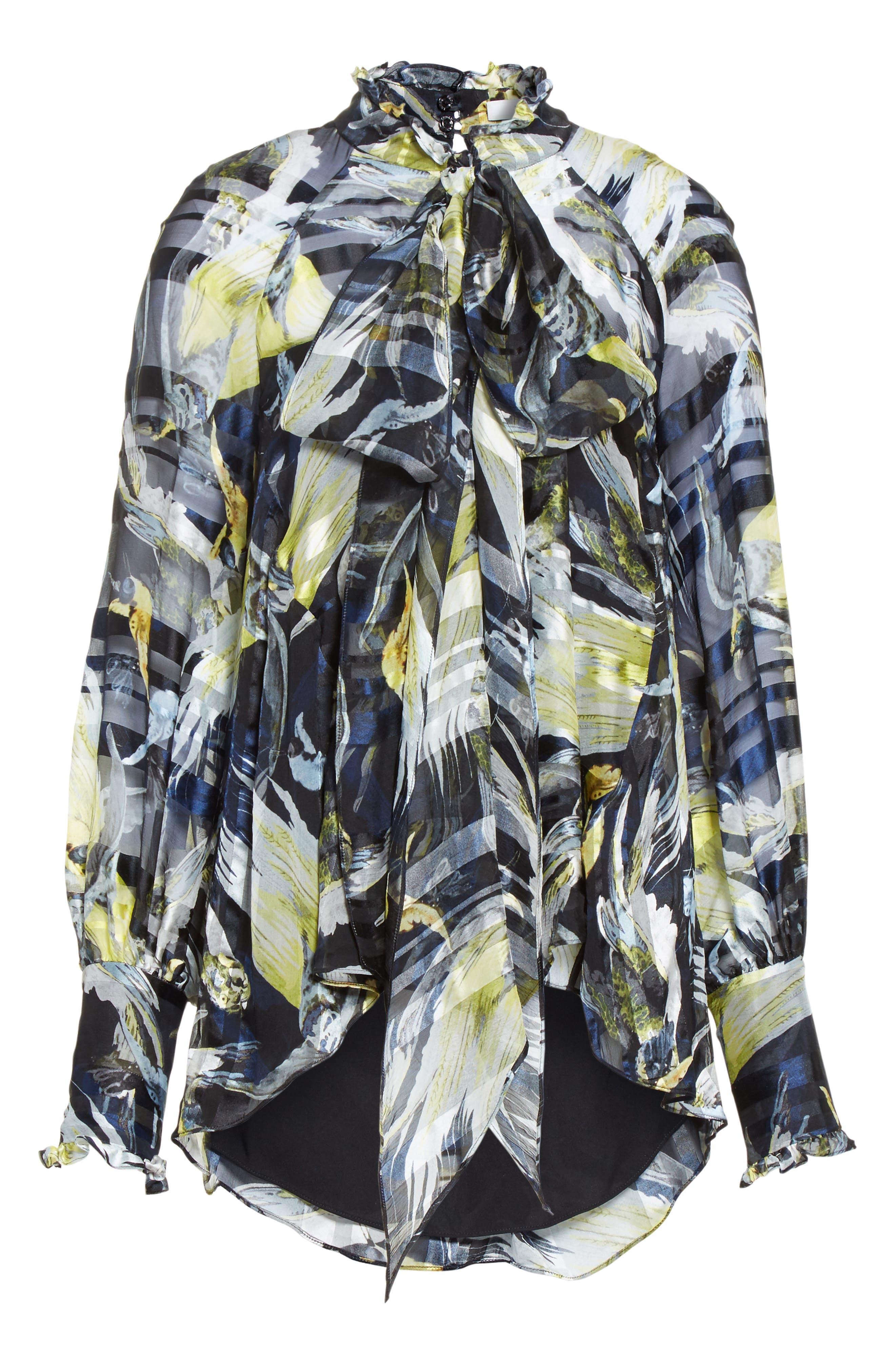 Bird Print Silk Chiffon Blouse,                             Alternate thumbnail 4, color,                             Black/ Yellow