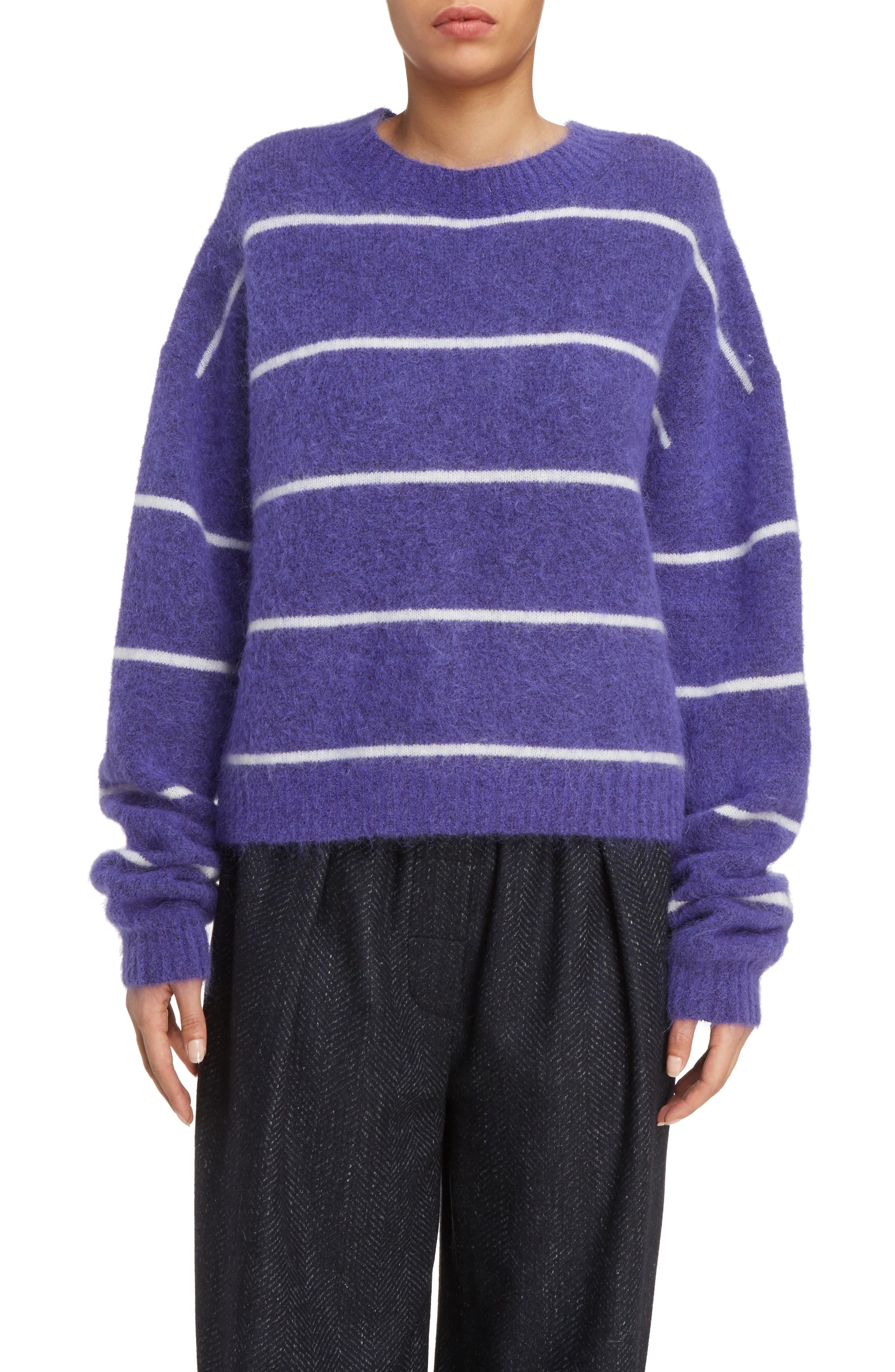 Rhira Stripe Crewneck Sweater,                         Main,                         color, Violet/ White Stripe