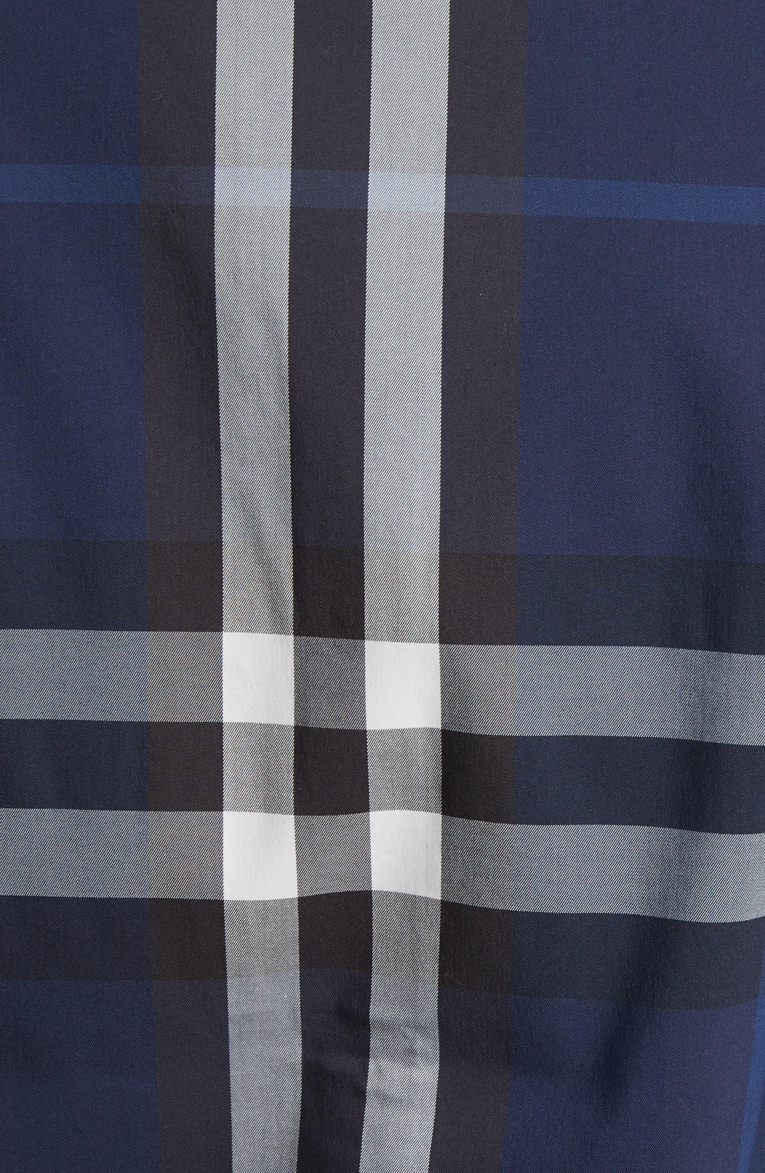 Nelson Trim Fit Plaid Sport Shirt,                             Alternate thumbnail 5, color,                             Indigo Blue