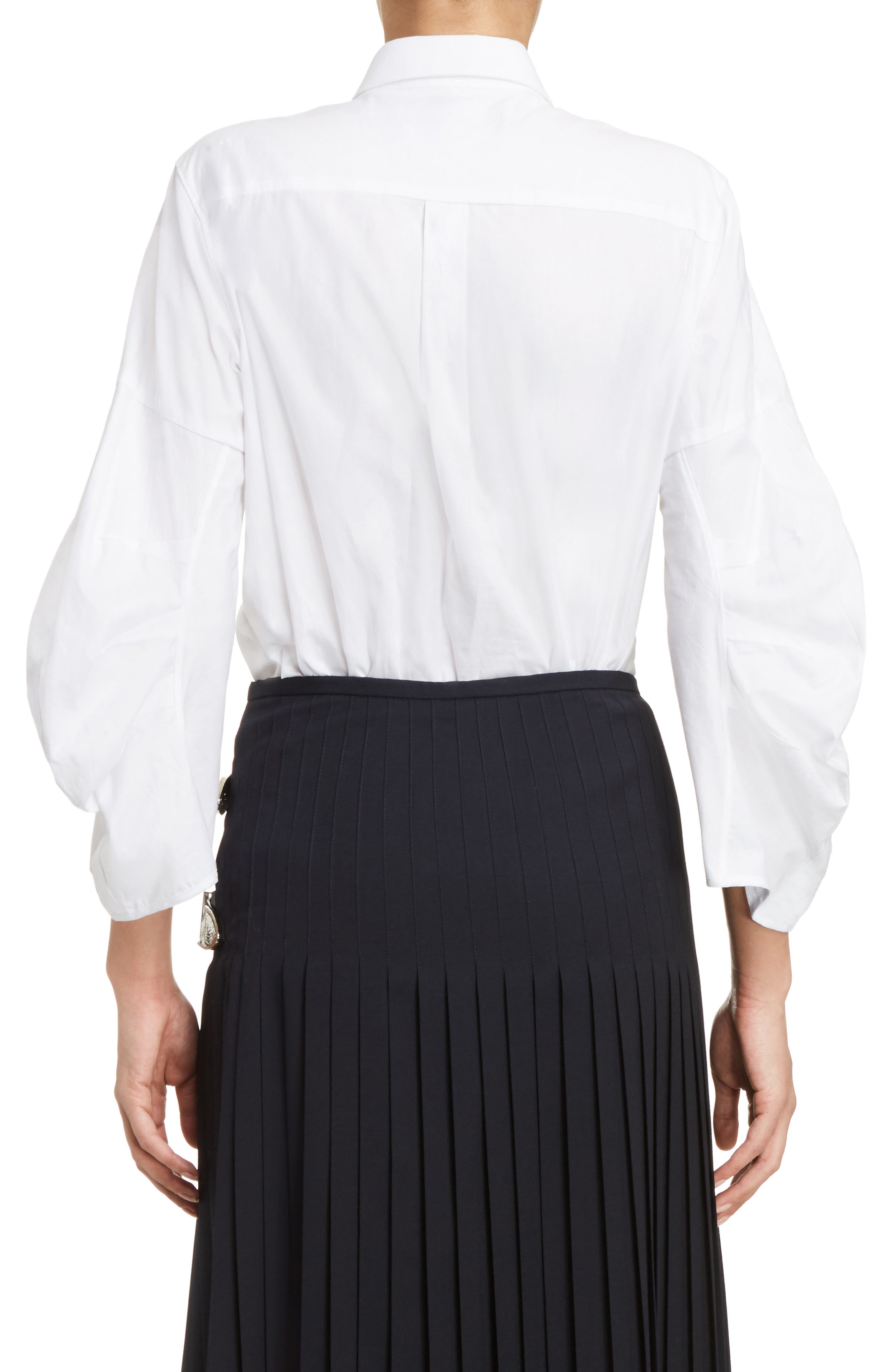 Double Breasted Bow Blouse,                             Alternate thumbnail 2, color,                             White
