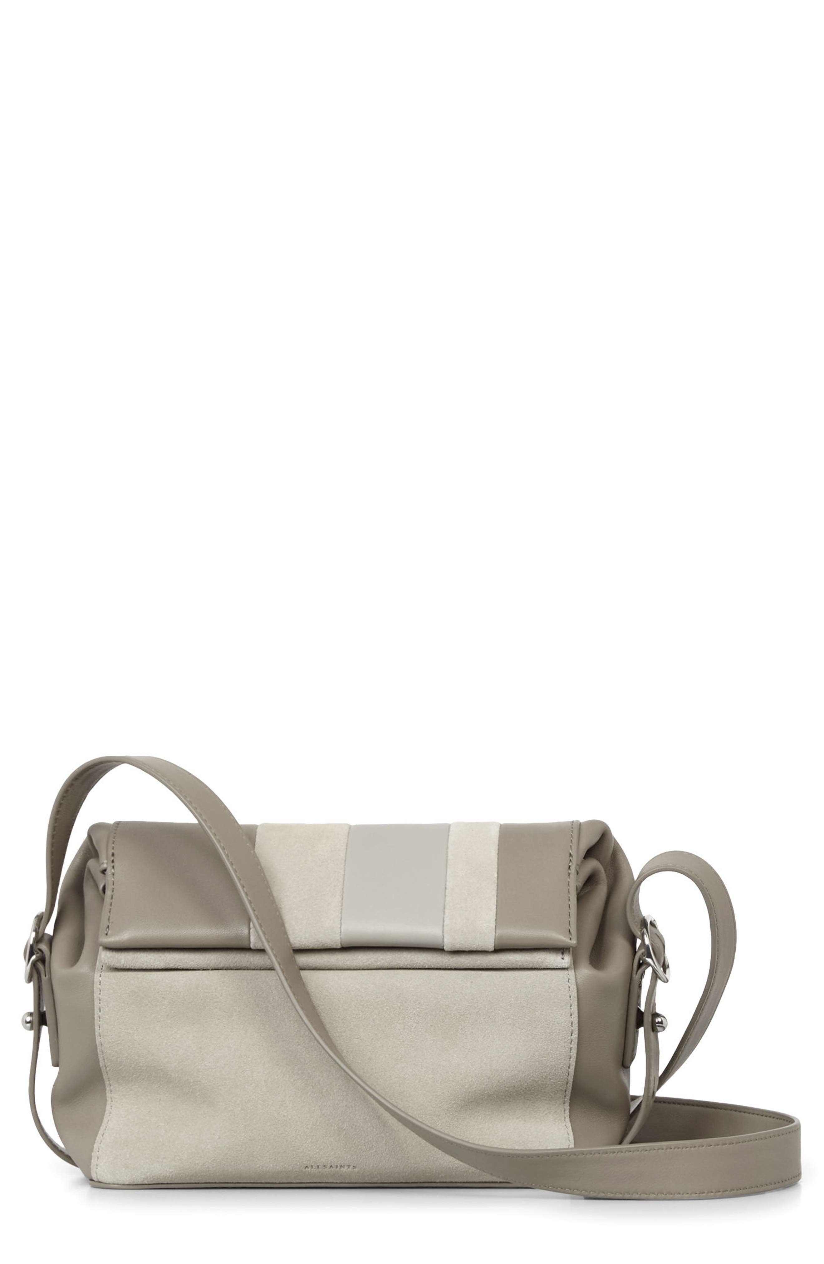 ALLSAINTS Casey Calfskin Leather & Suede Small Crossbody Bag